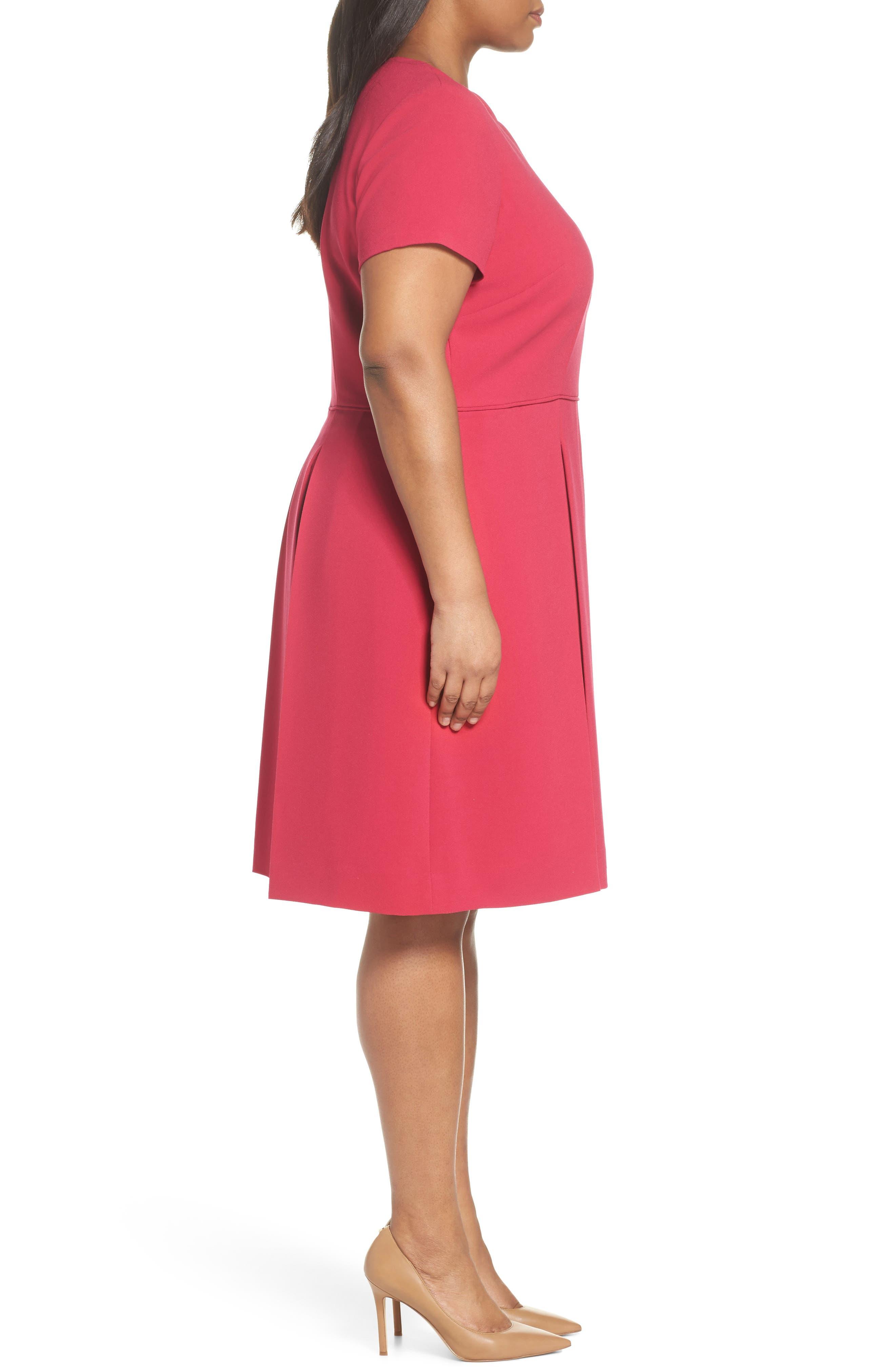 Alternate Image 3  - Tahari Scallop Neck A-Line Dress (Plus Size)