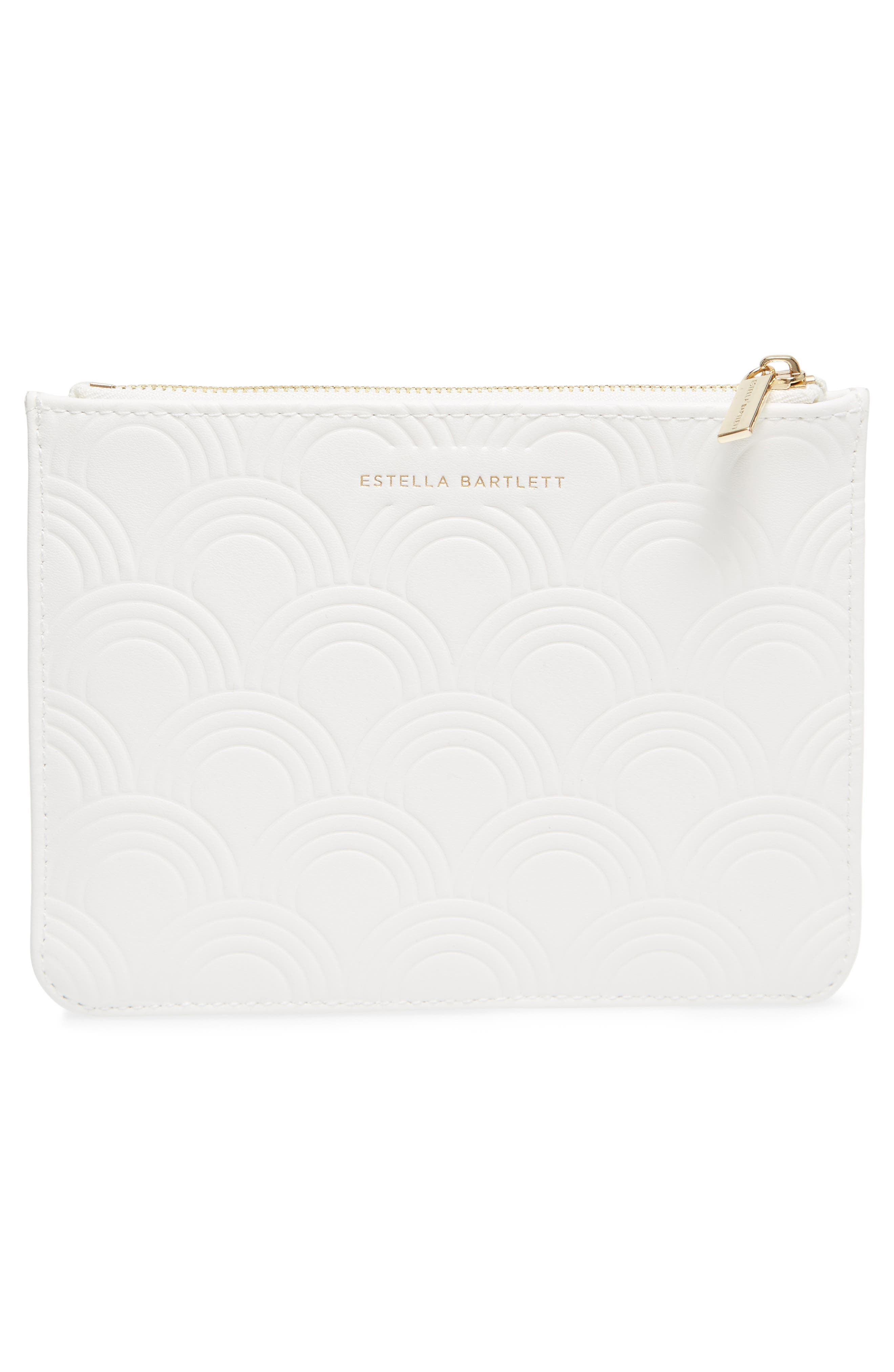 Small Embossed Faux Leather Pouch,                             Alternate thumbnail 3, color,                             Ivory