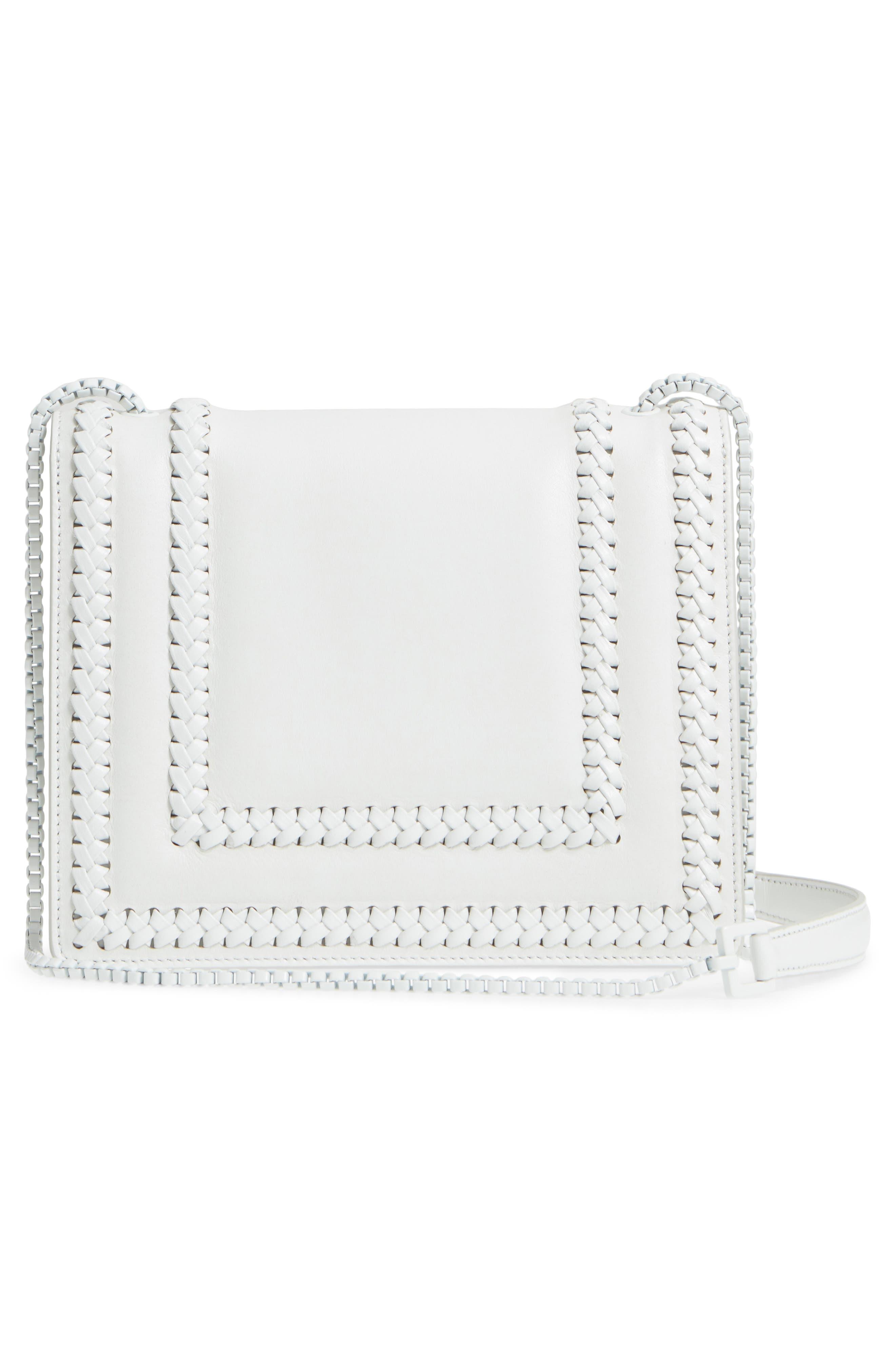 Thalia Gancio Leather Shoulder Bag,                             Alternate thumbnail 3, color,                             New Bianco Ottico