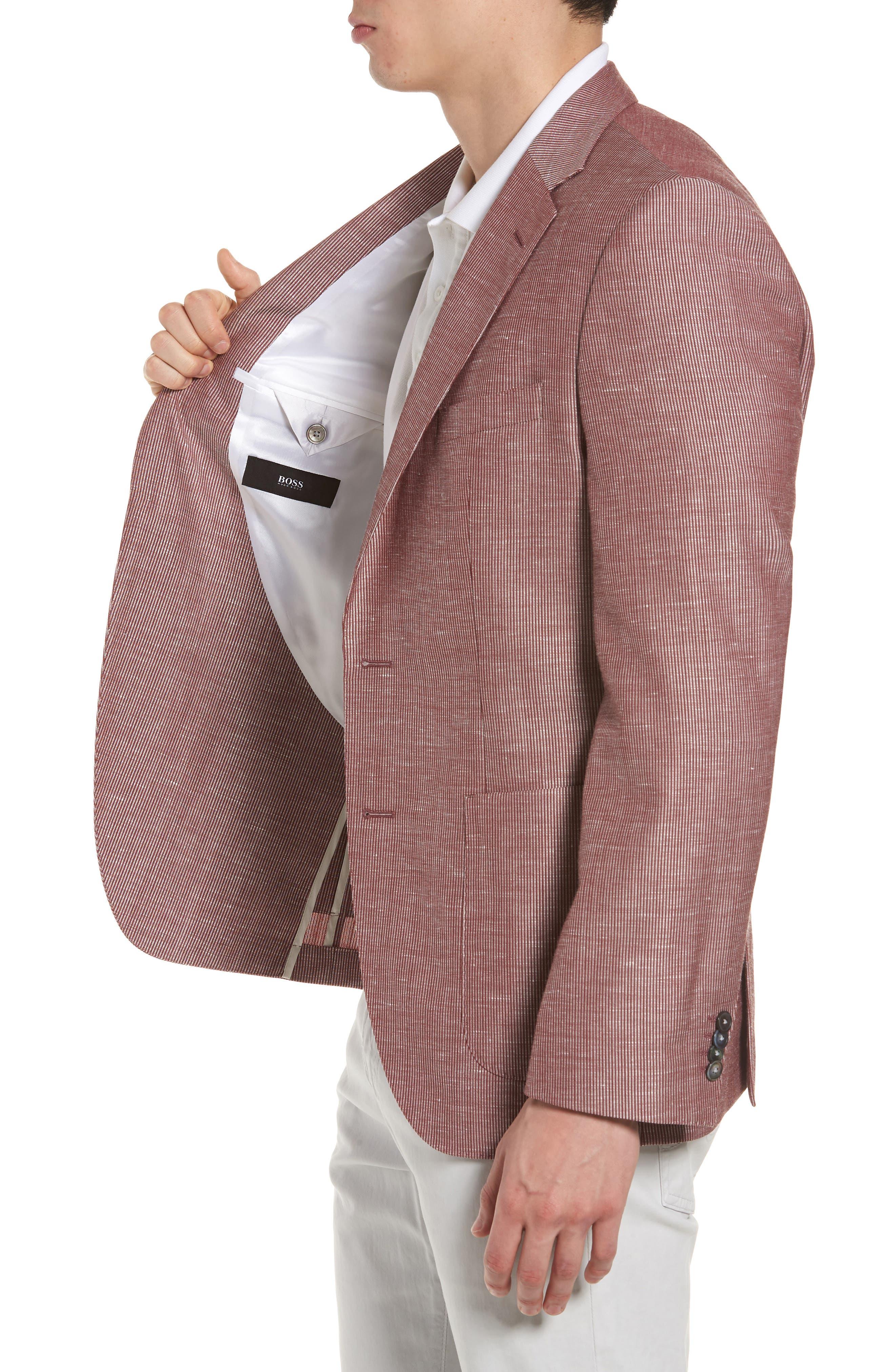 Janson Classic Fit Stripe Wool Blend Sport Coat,                             Alternate thumbnail 4, color,                             Red