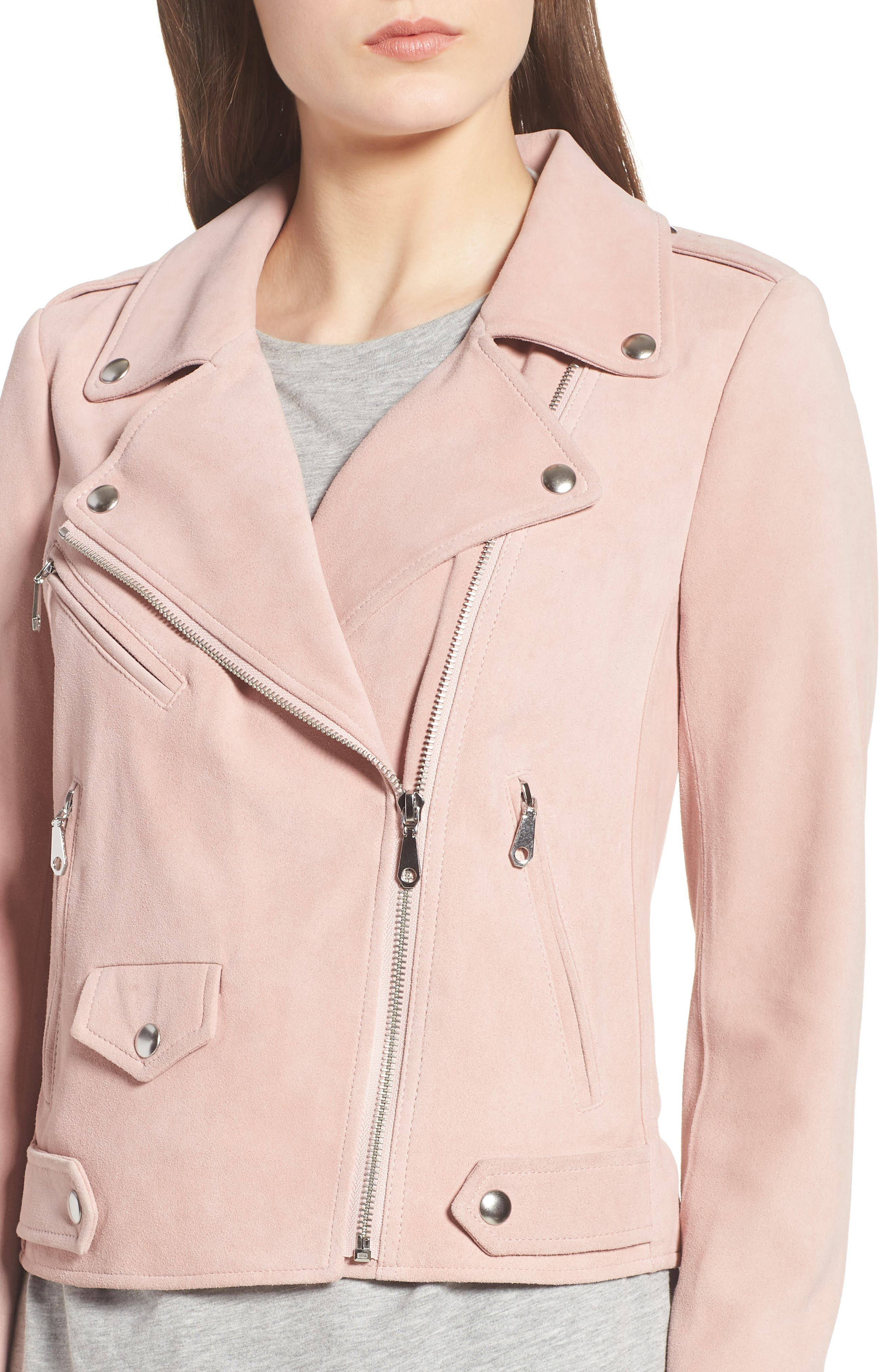 Wes Suede Moto Jacket,                             Alternate thumbnail 4, color,                             Light Pink
