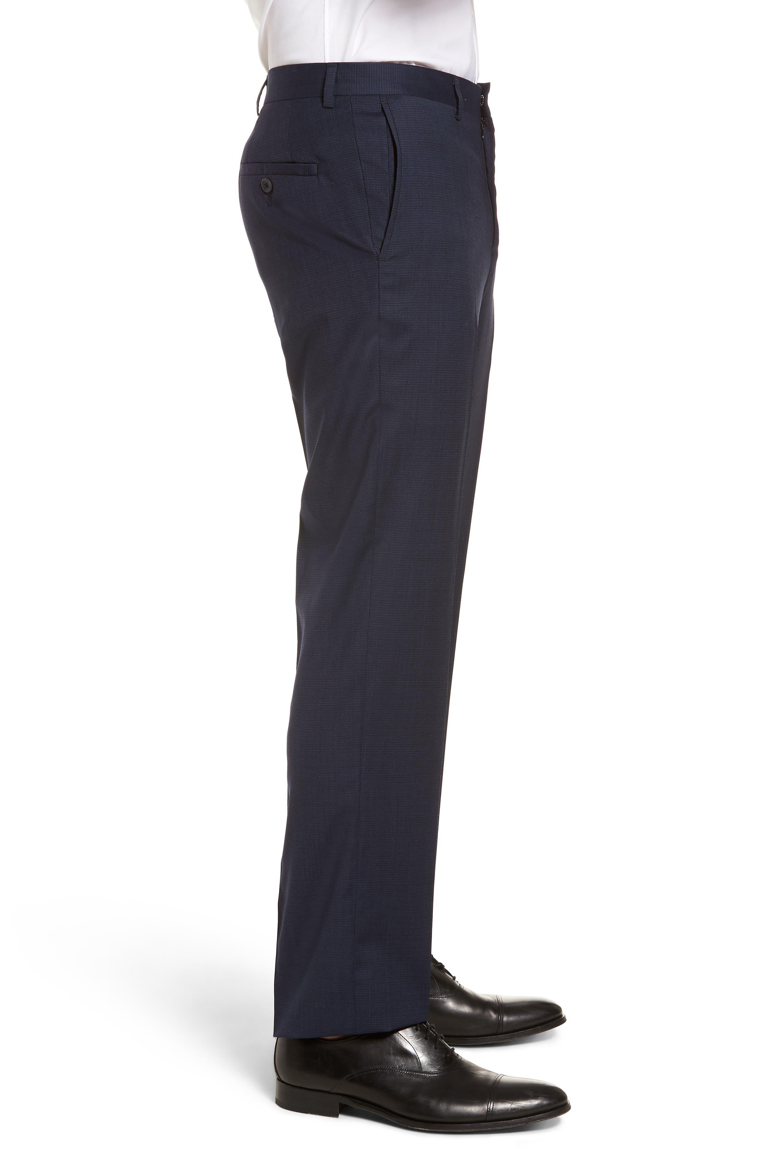 Tech-Smart Flat Front Stretch Wool Pants,                             Alternate thumbnail 3, color,                             Navy