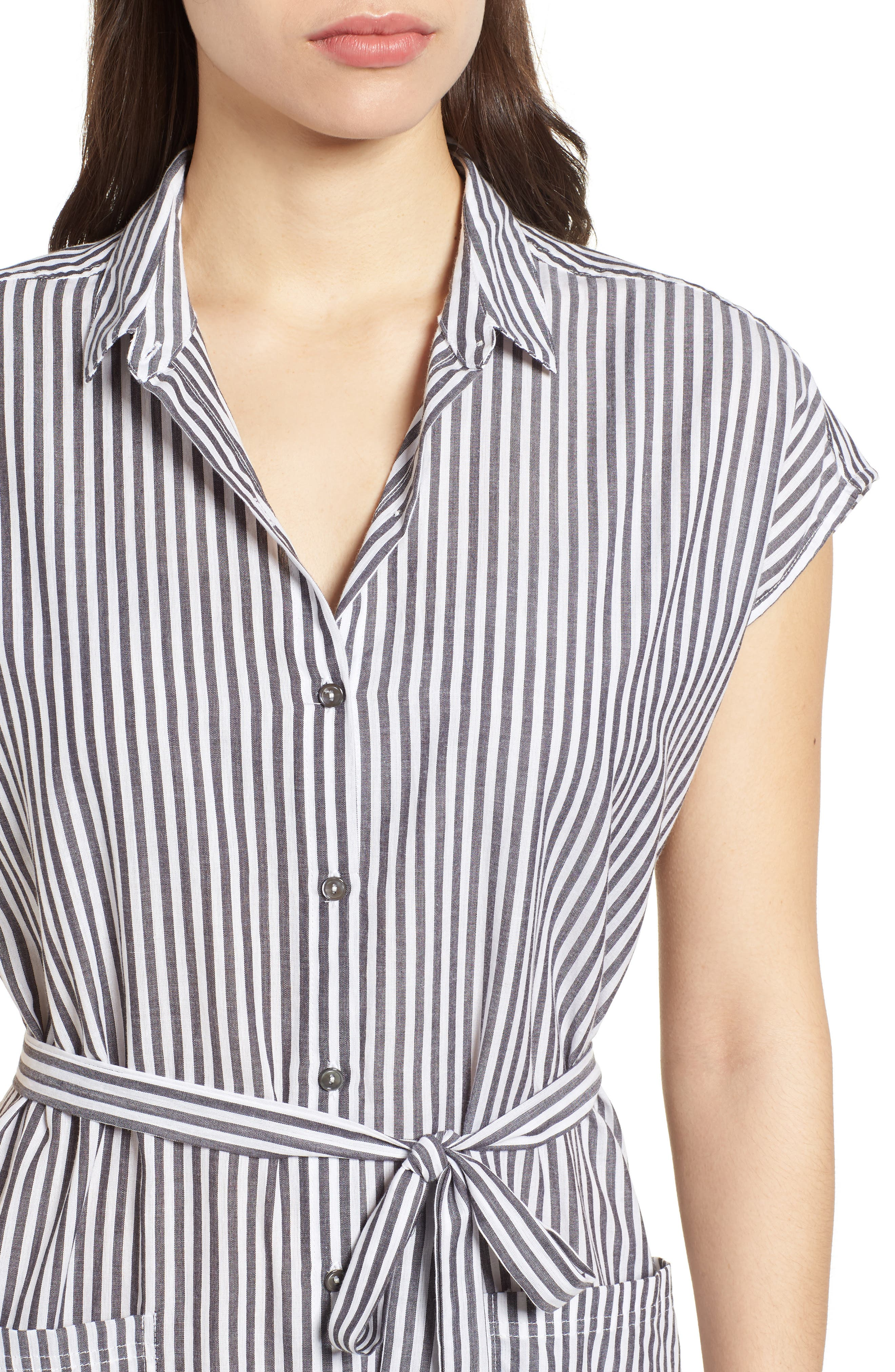 Stripe Belted Cotton Shirtdress,                             Alternate thumbnail 4, color,                             Charcoal Grey