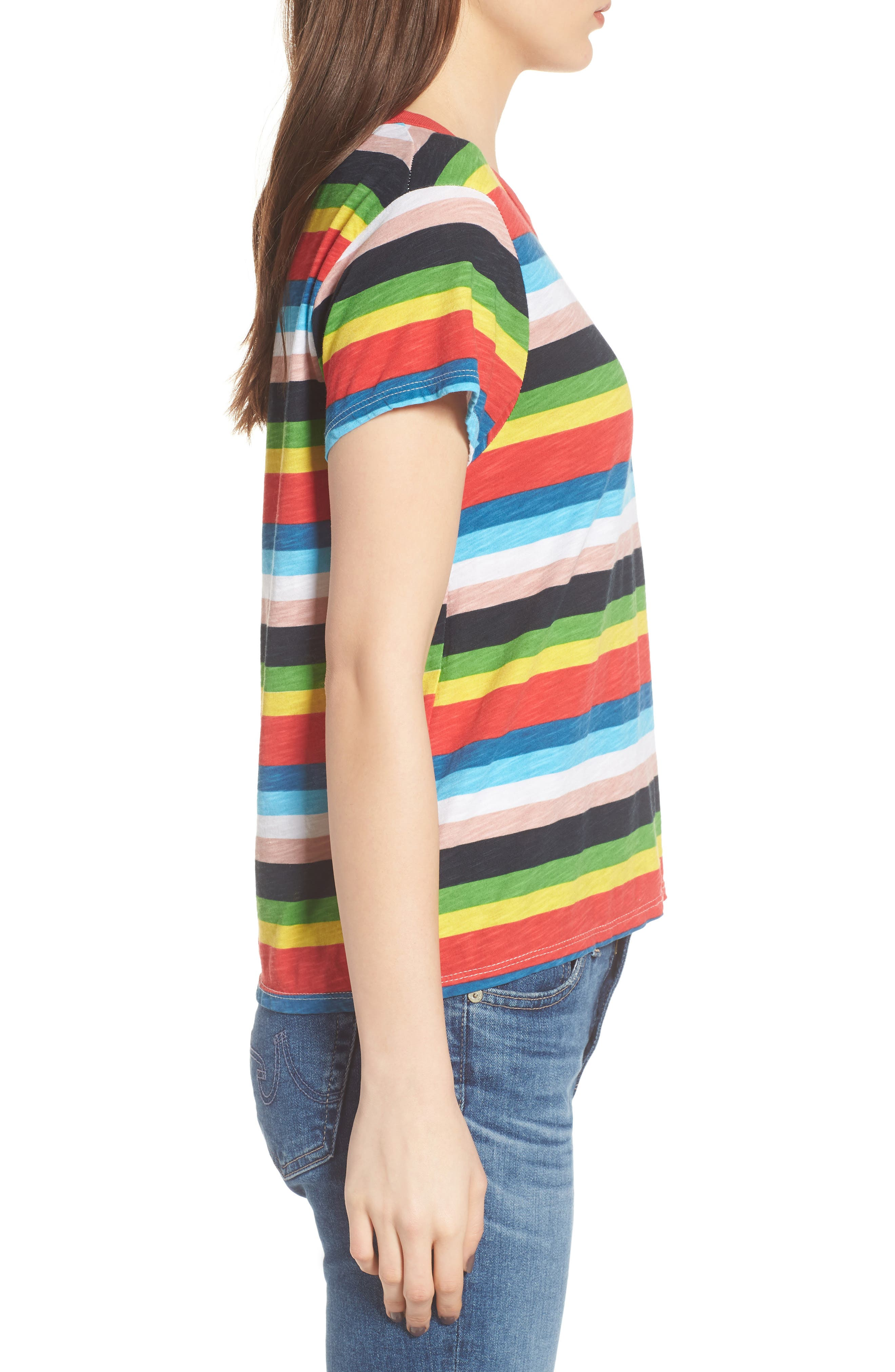 Rainbow Stripe Ringer Tee,                             Alternate thumbnail 3, color,                             Multi