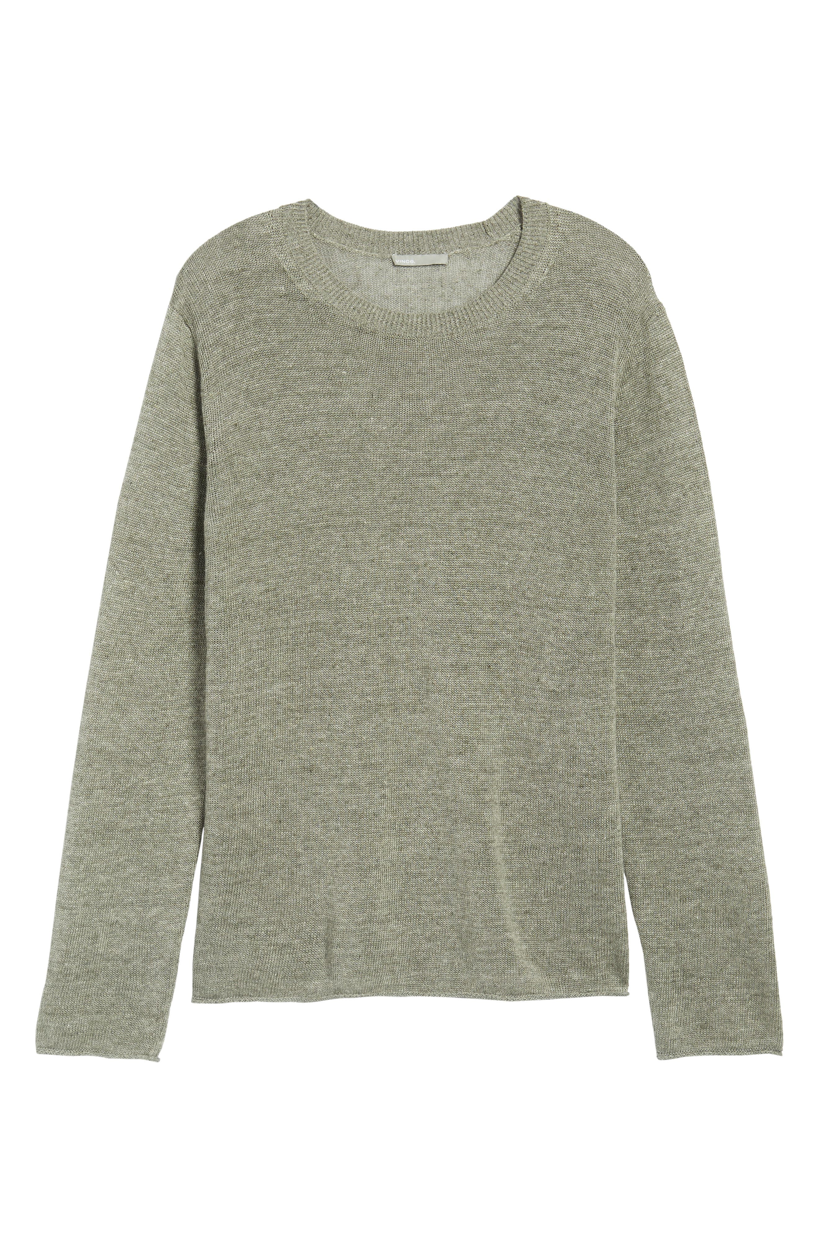 Slim Fit Linen Crewneck Sweater,                             Alternate thumbnail 6, color,                             Silver