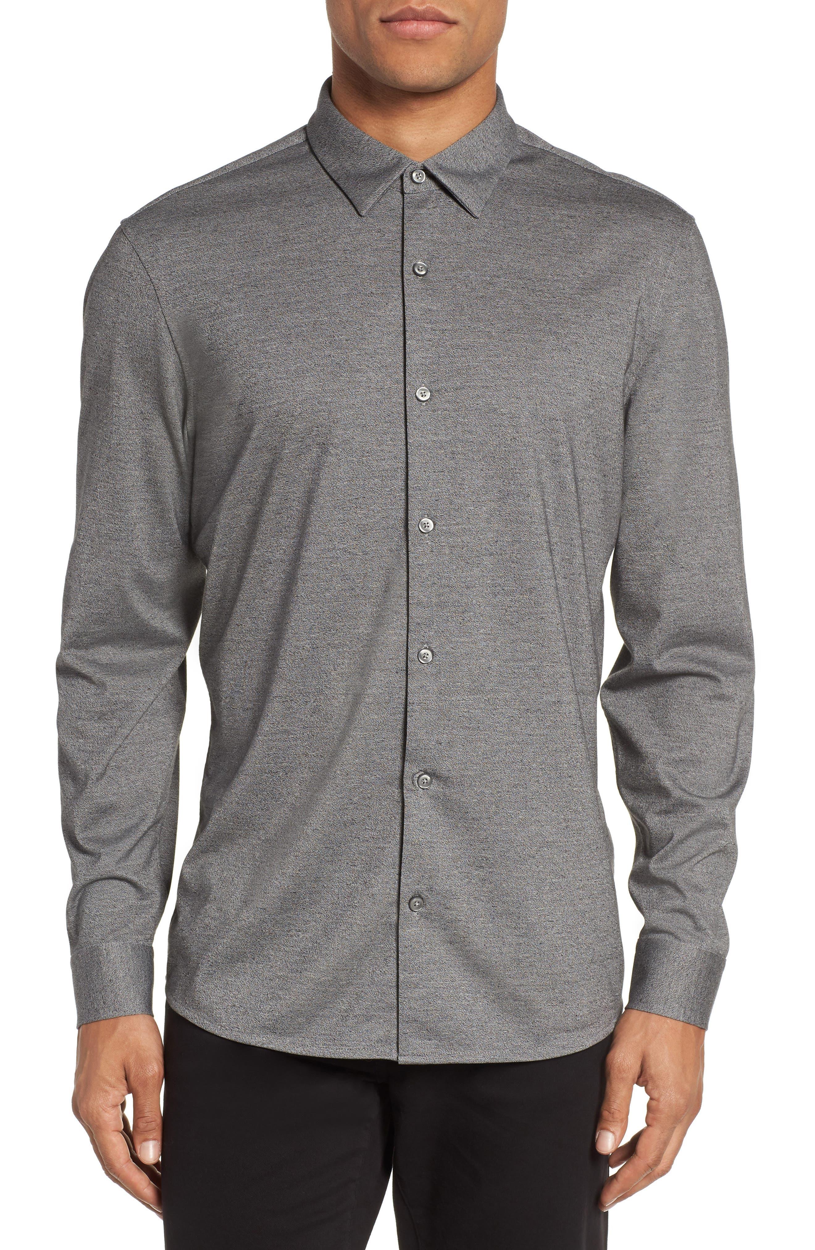Knit Sport Shirt,                         Main,                         color, Grey Micro Black Jaspe