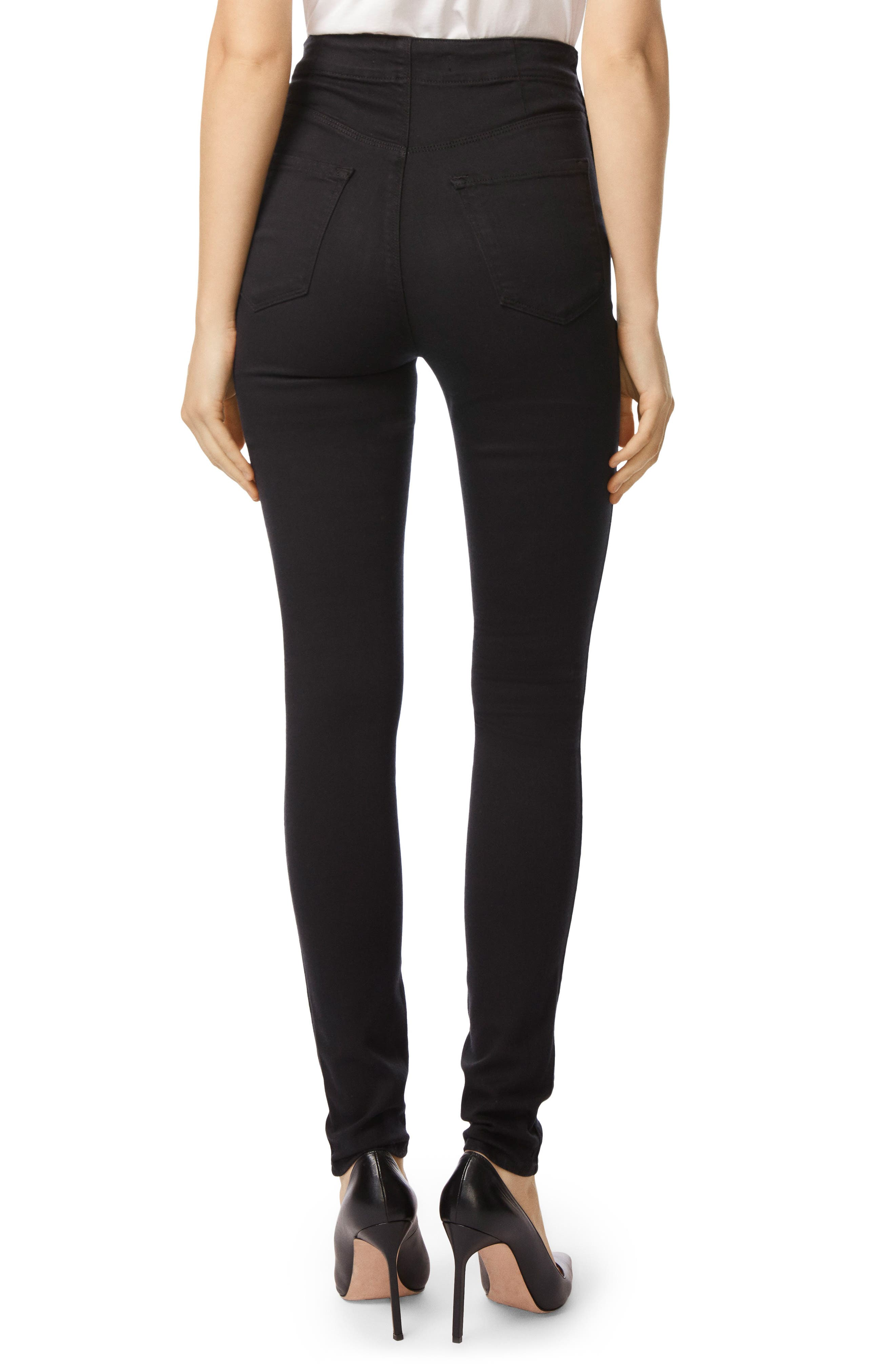 Natasha Sky High High Waist Super Skinny Jeans,                             Alternate thumbnail 3, color,                             Seriously Black
