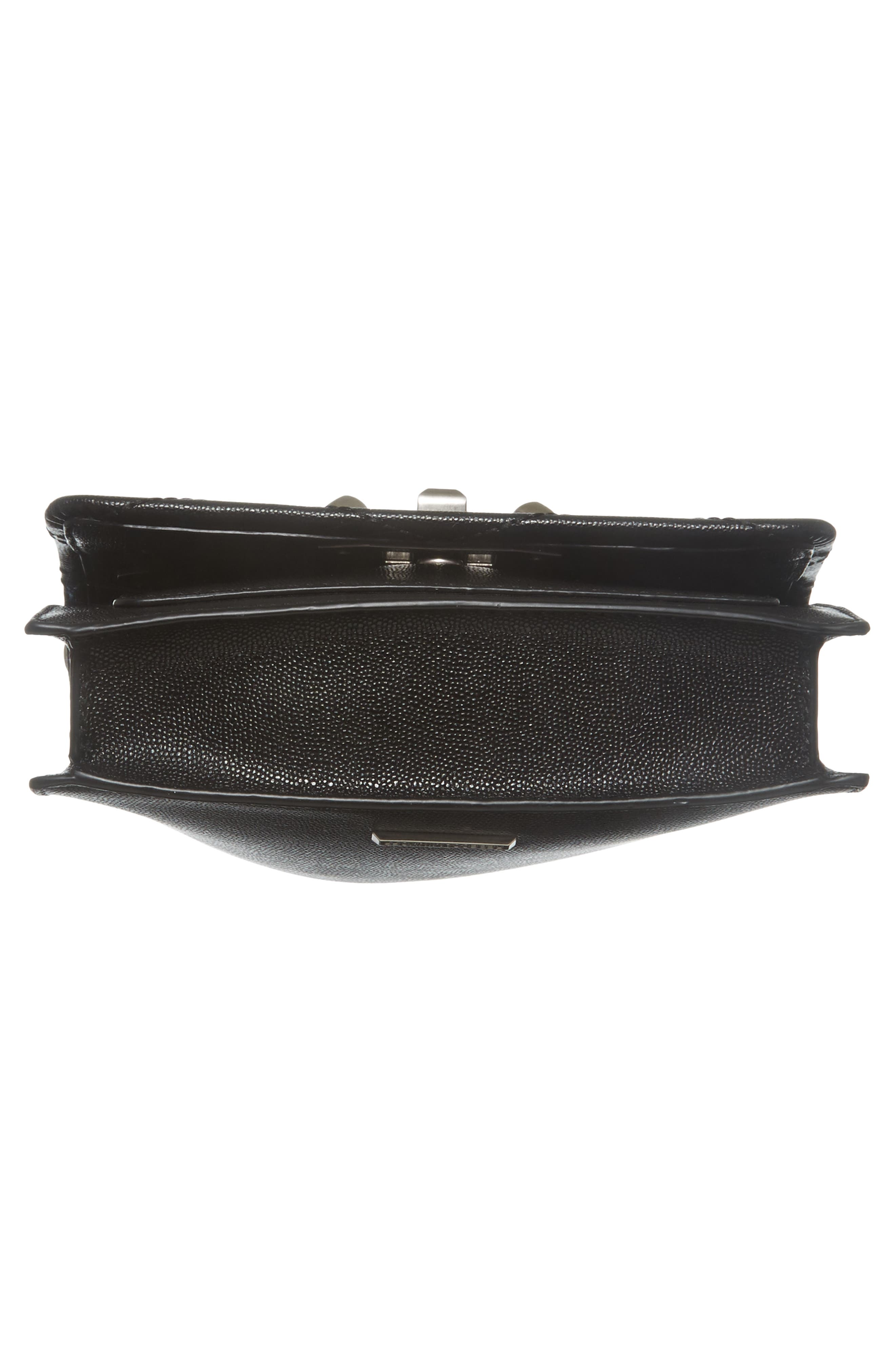 Small Je T'aime Leather Crossbody Bag,                             Alternate thumbnail 6, color,                             Black