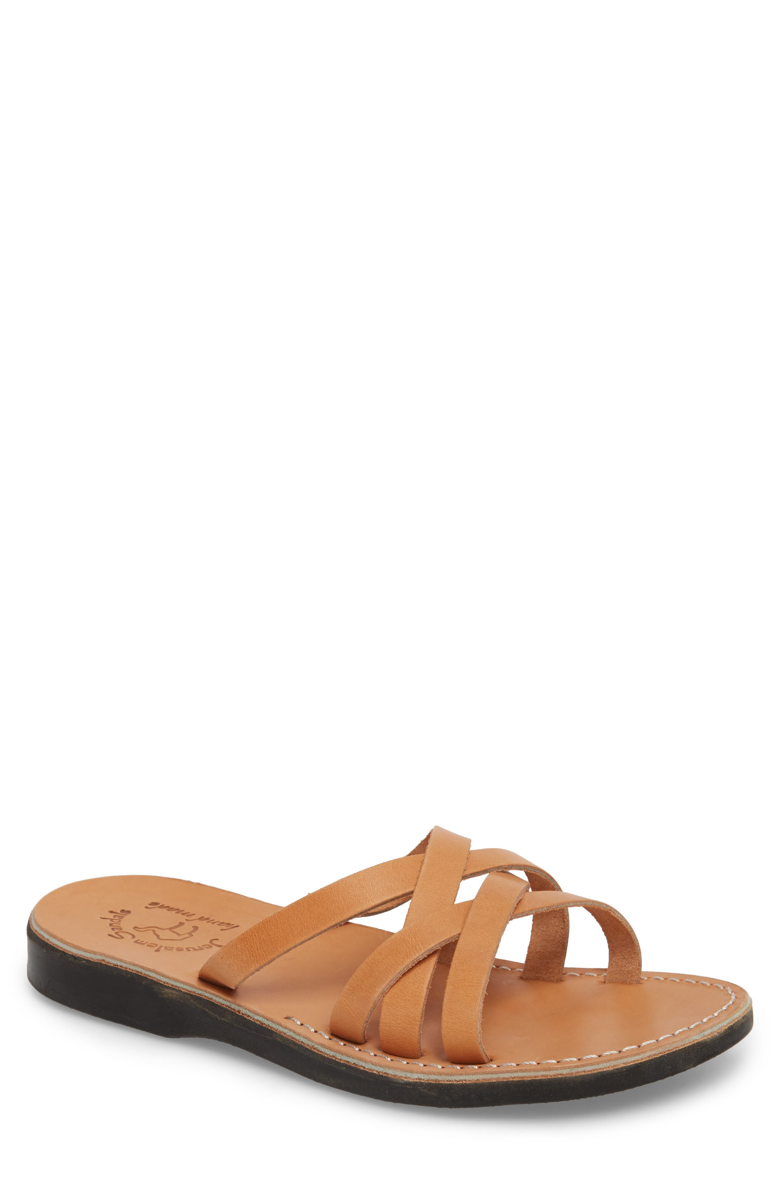 Gad Cross Strap Slide Sandal,                             Main thumbnail 1, color,                             Tan Leather