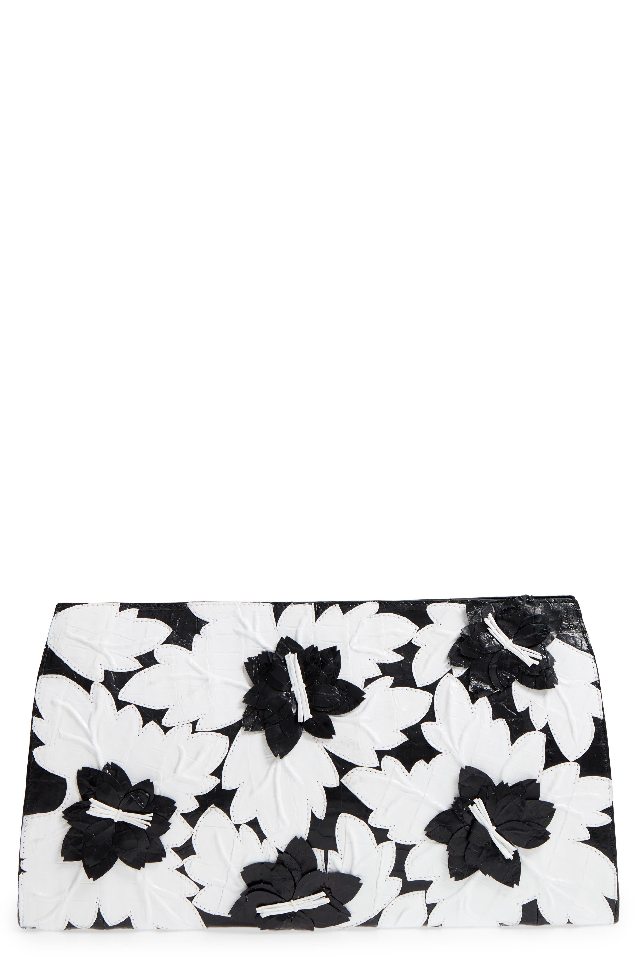Floral Embellished Genuine Crocodile Clutch - Black, Black/ White