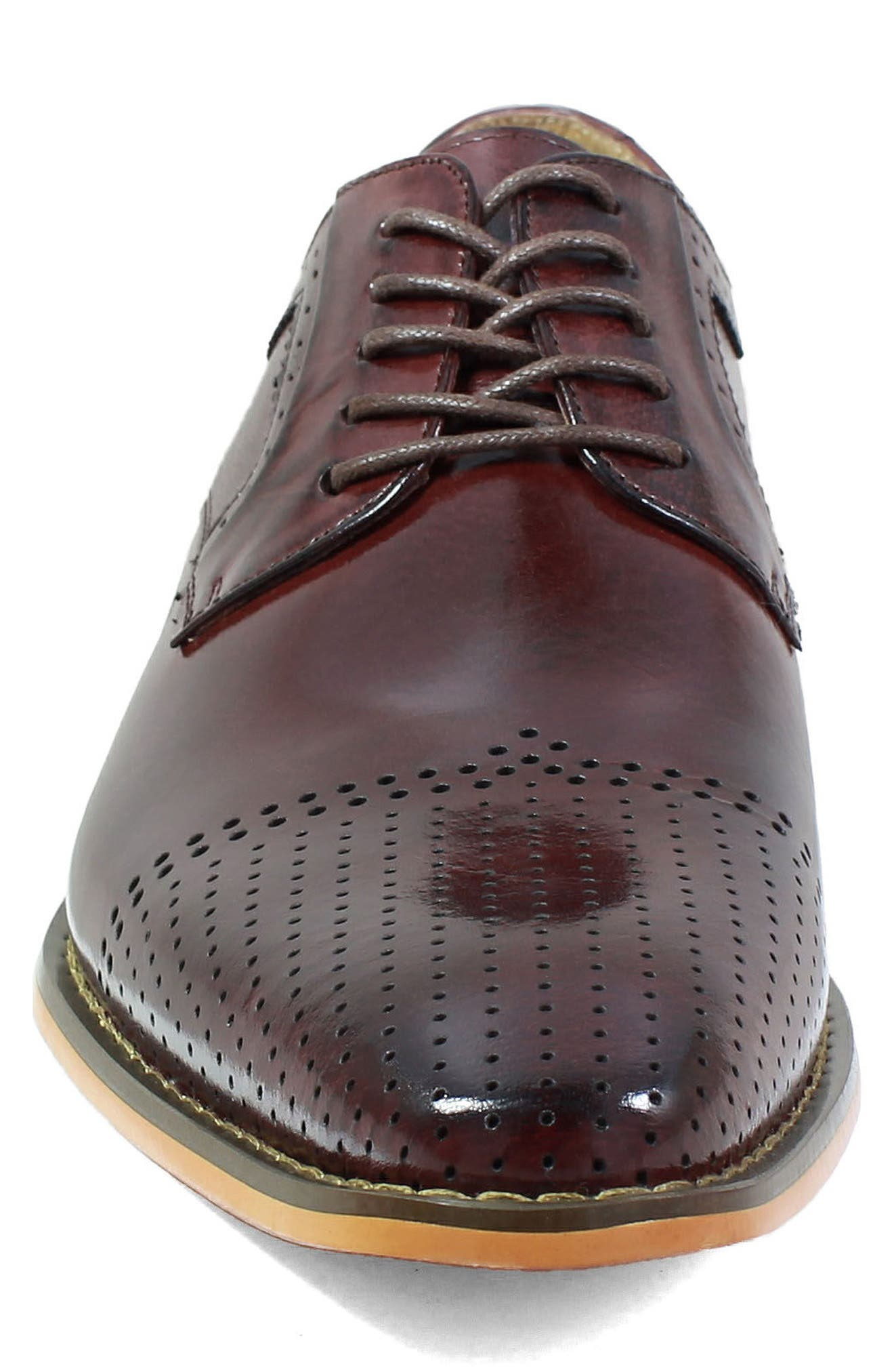 Sanborn Perforated Cap Toe Derby,                             Alternate thumbnail 4, color,                             Burgundy Leather