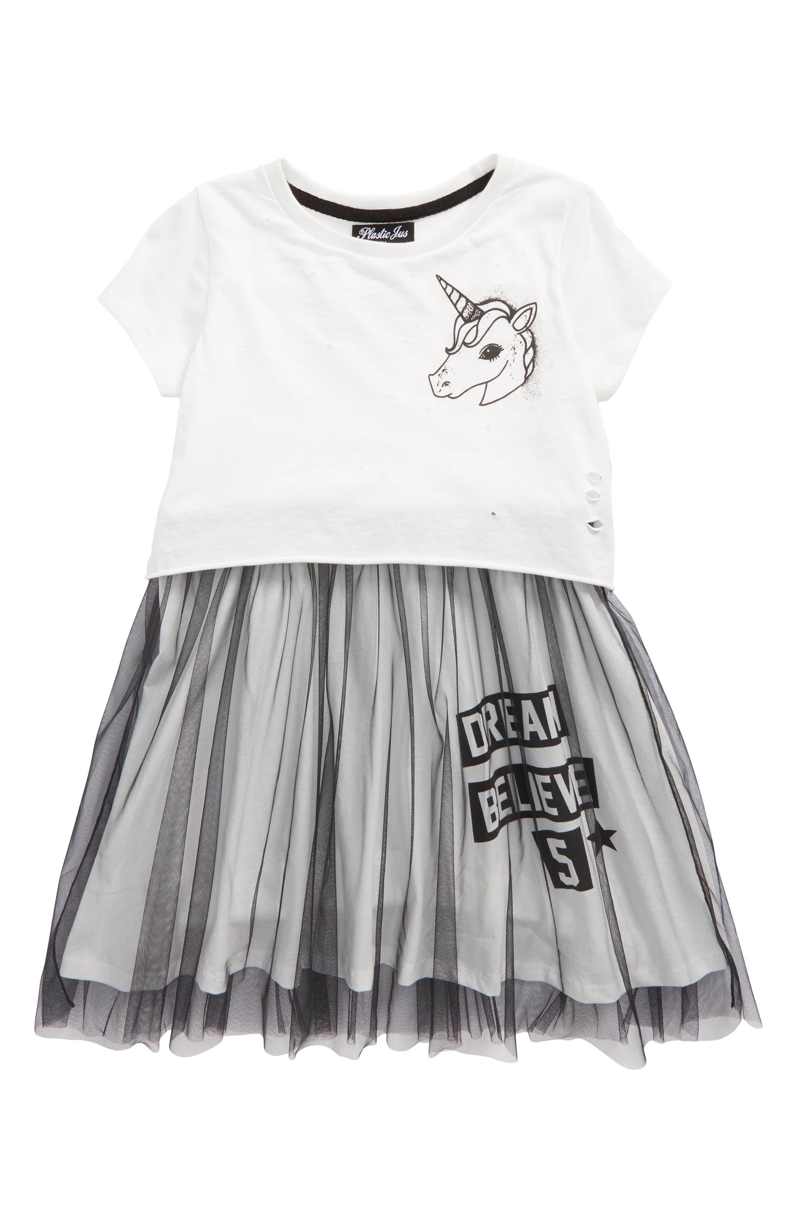Unicorn Tutu Dress,                             Main thumbnail 1, color,                             Cream And Black