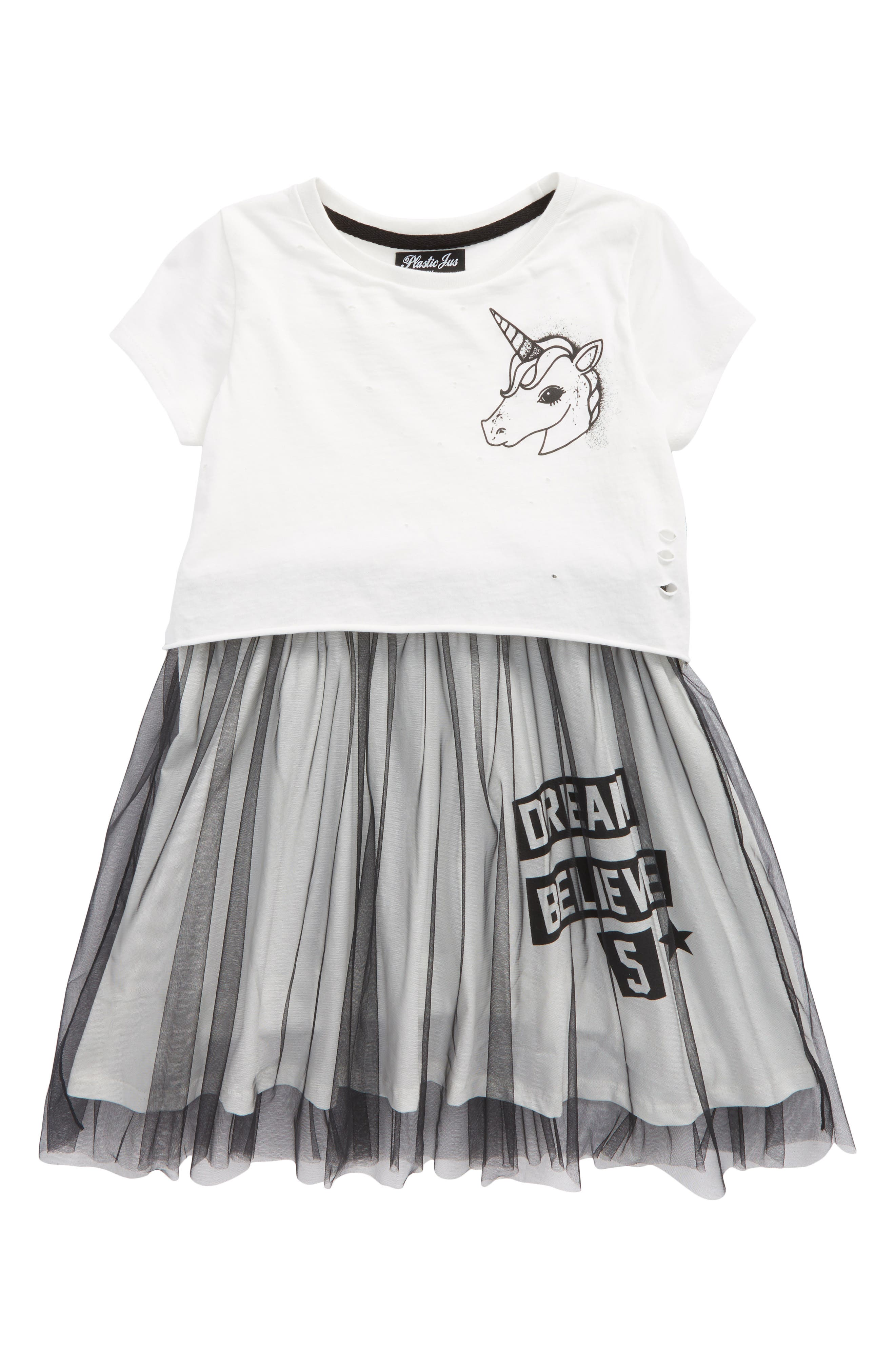 Unicorn Tutu Dress,                         Main,                         color, Cream And Black