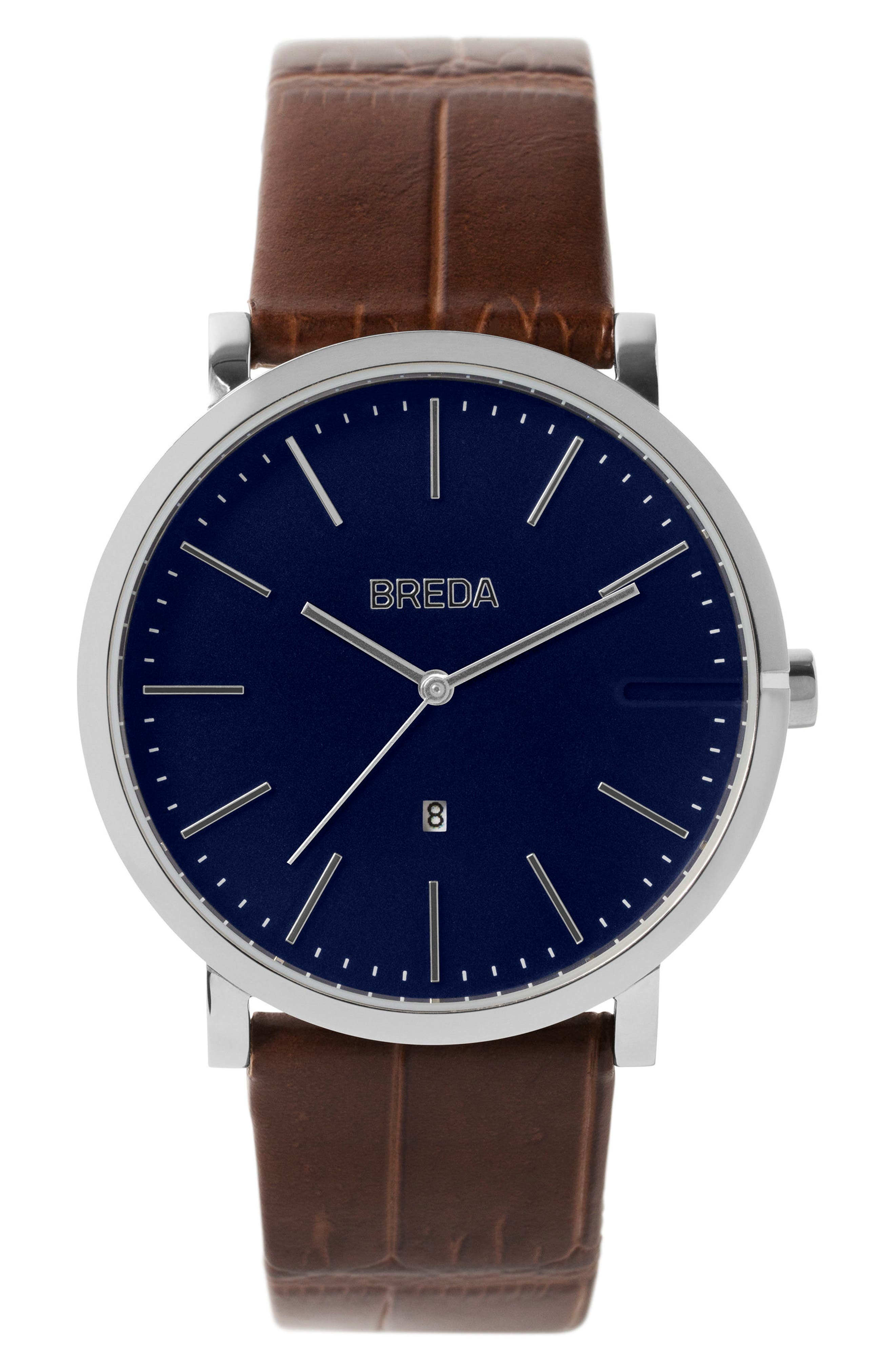 Breuer Leather Strap Watch, 39mm,                         Main,                         color, Brown/ Navy/ Silver