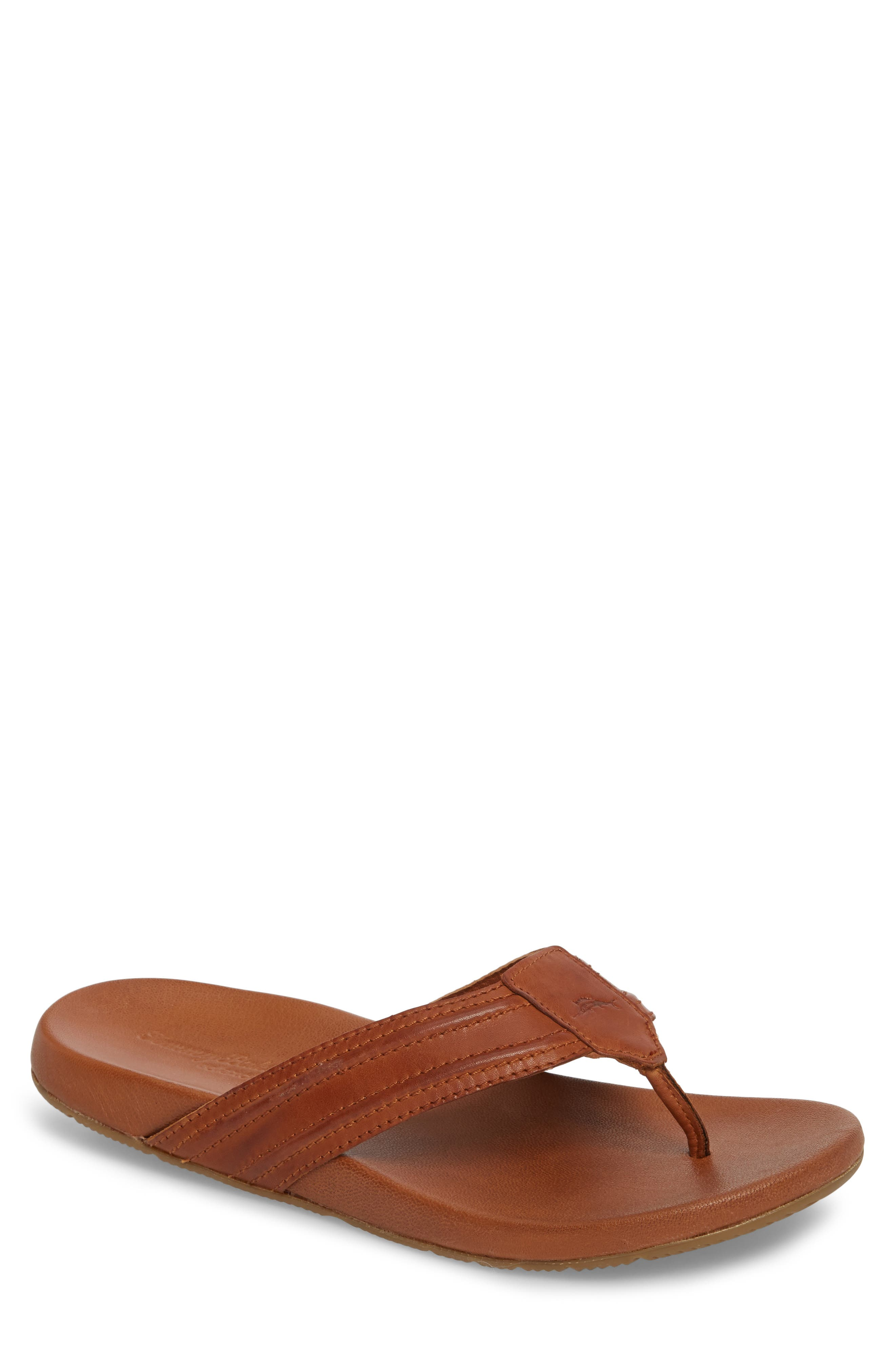 Mayaguana Flip Flop,                         Main,                         color, Tan Leather