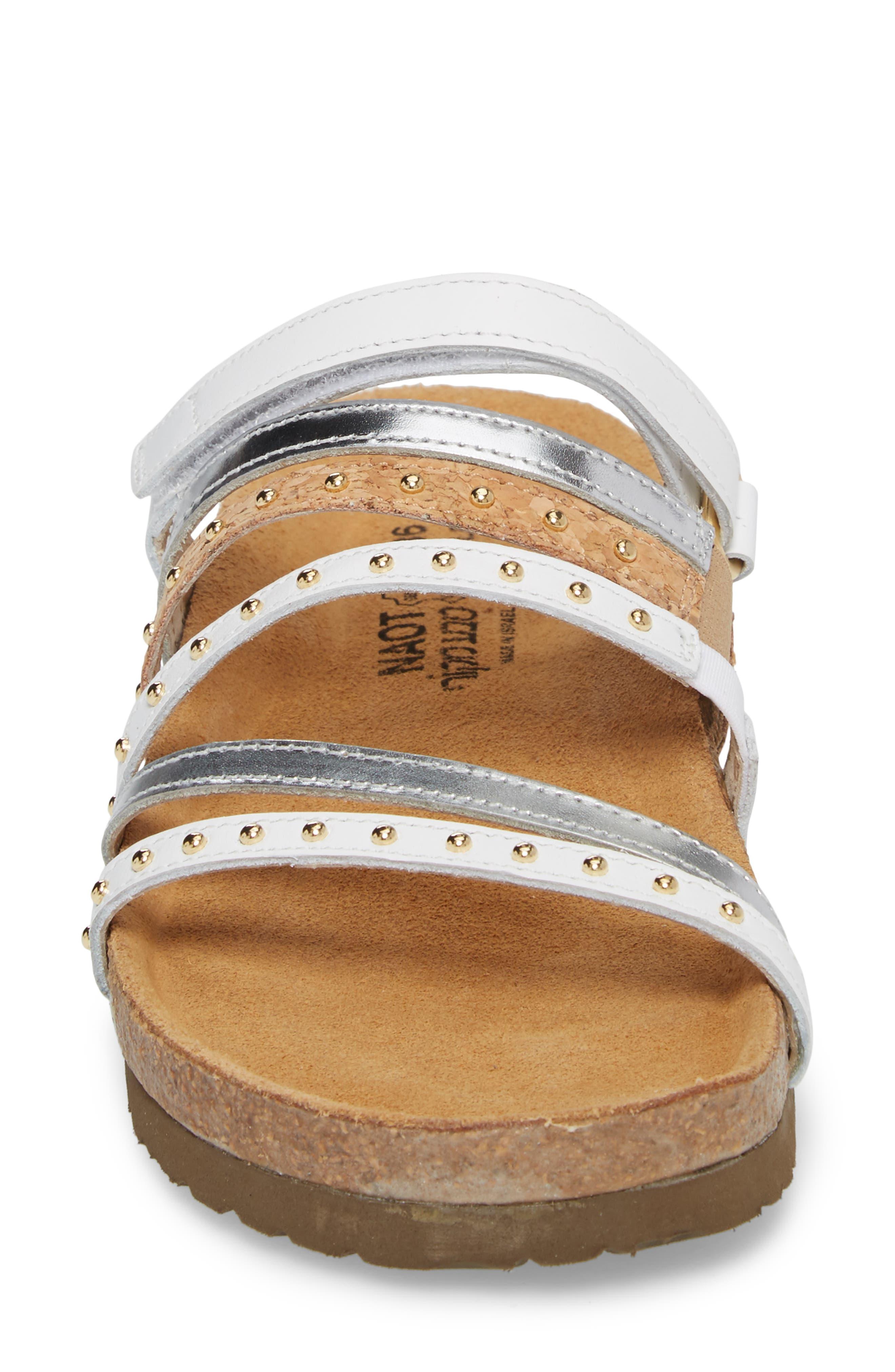 Prescott Sandal,                             Alternate thumbnail 4, color,                             White/ Silver Leather