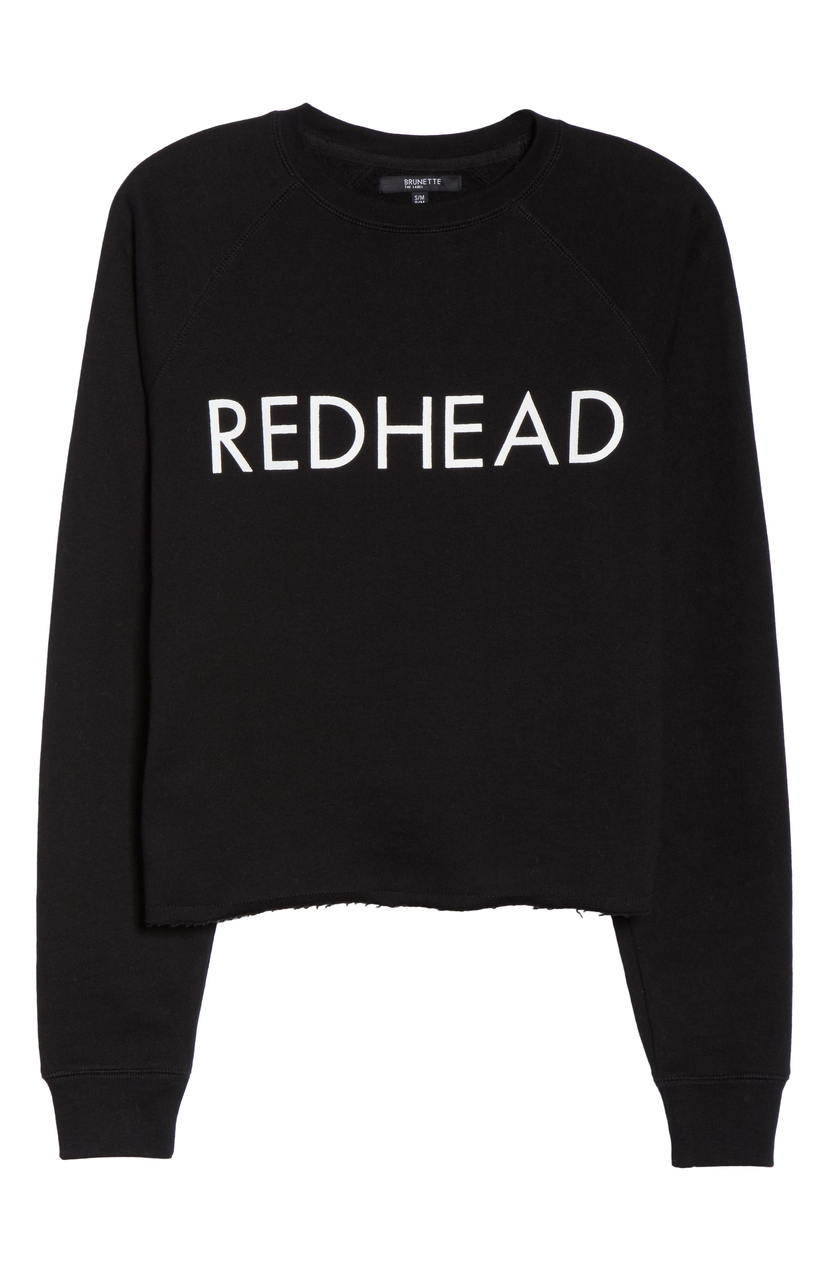 Redhead Raw Hem Sweatshirt,                             Alternate thumbnail 4, color,                             Black