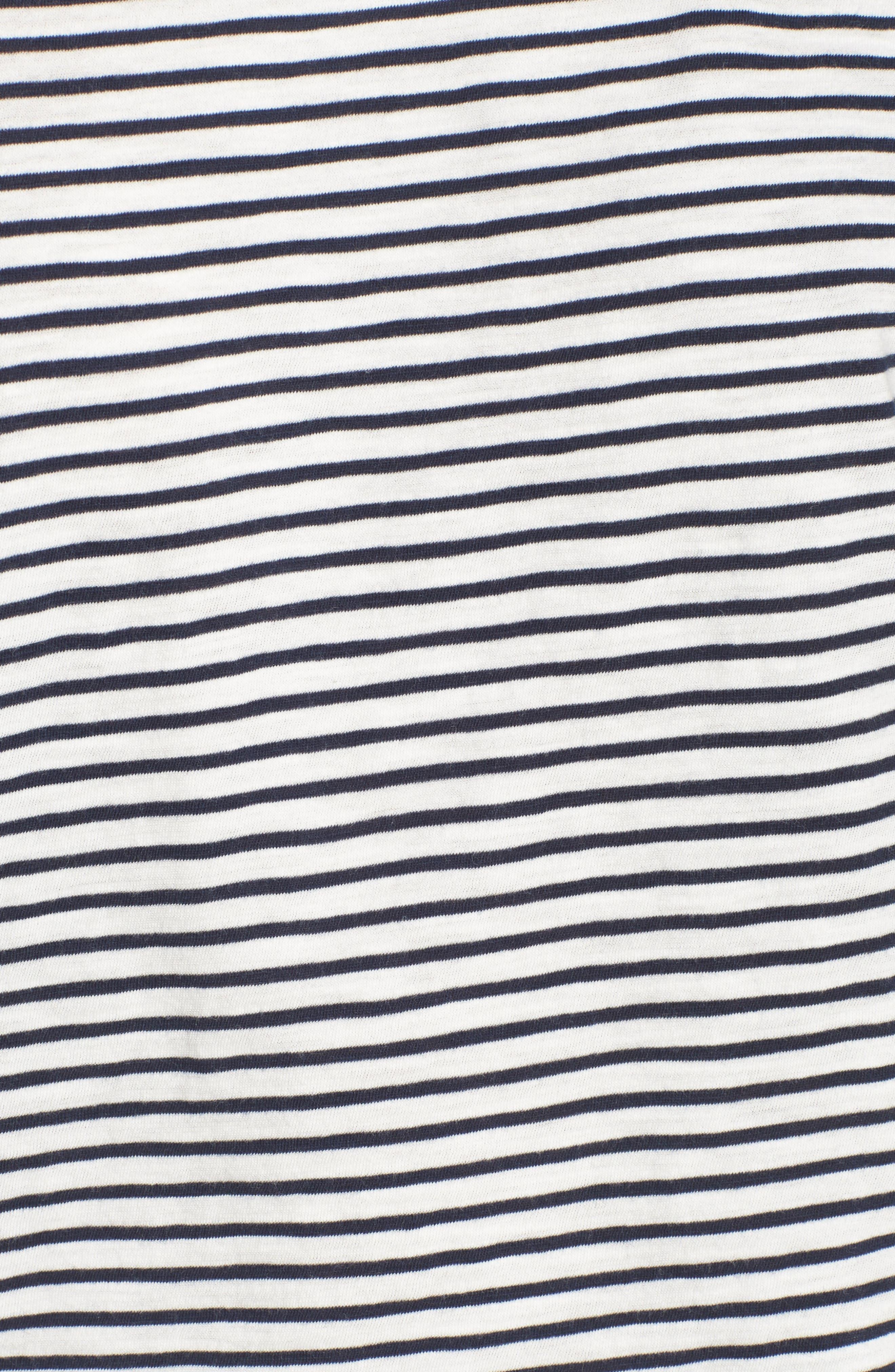 Whisper Cotton Stripe Crewneck Tee,                             Alternate thumbnail 6, color,                             Deep Navy