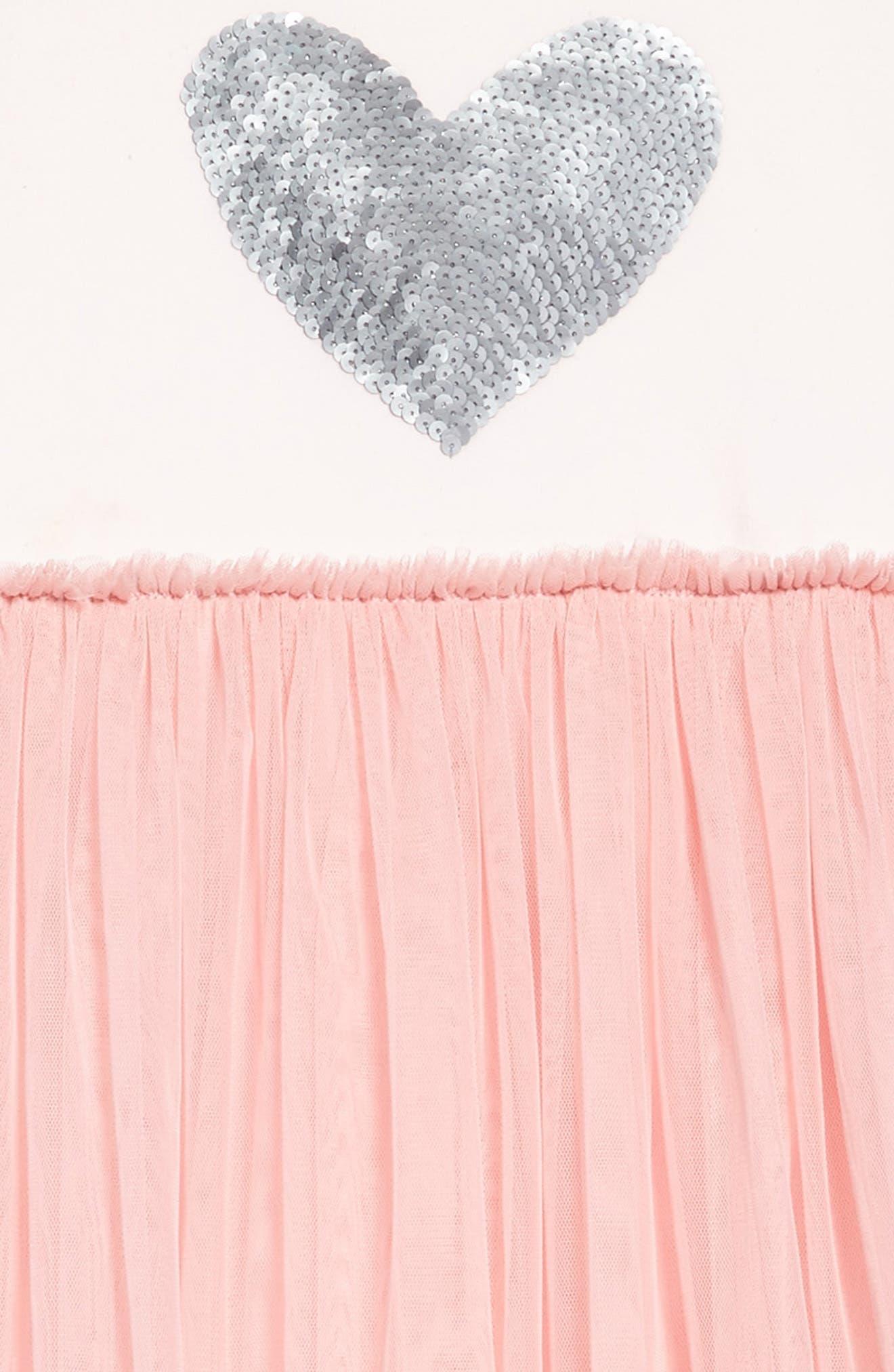 Alternate Image 3  - Masala Baby Sequin Heart Dress with Tulle Skirt (Toddler Girls, Little Girls & Big Girls)