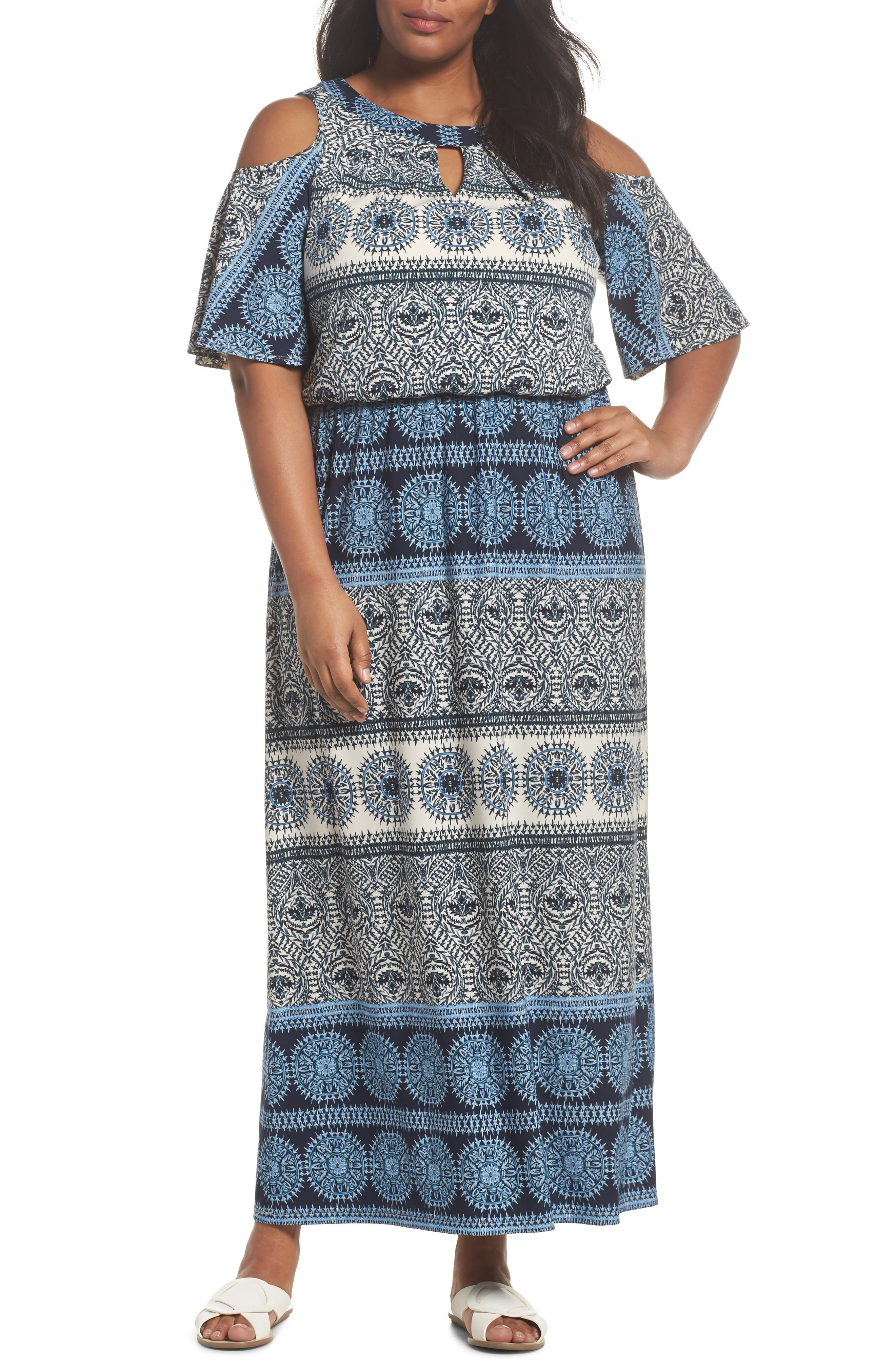 London Times Print Cold Shoulder Blouson Maxi Dress (Plus Size)
