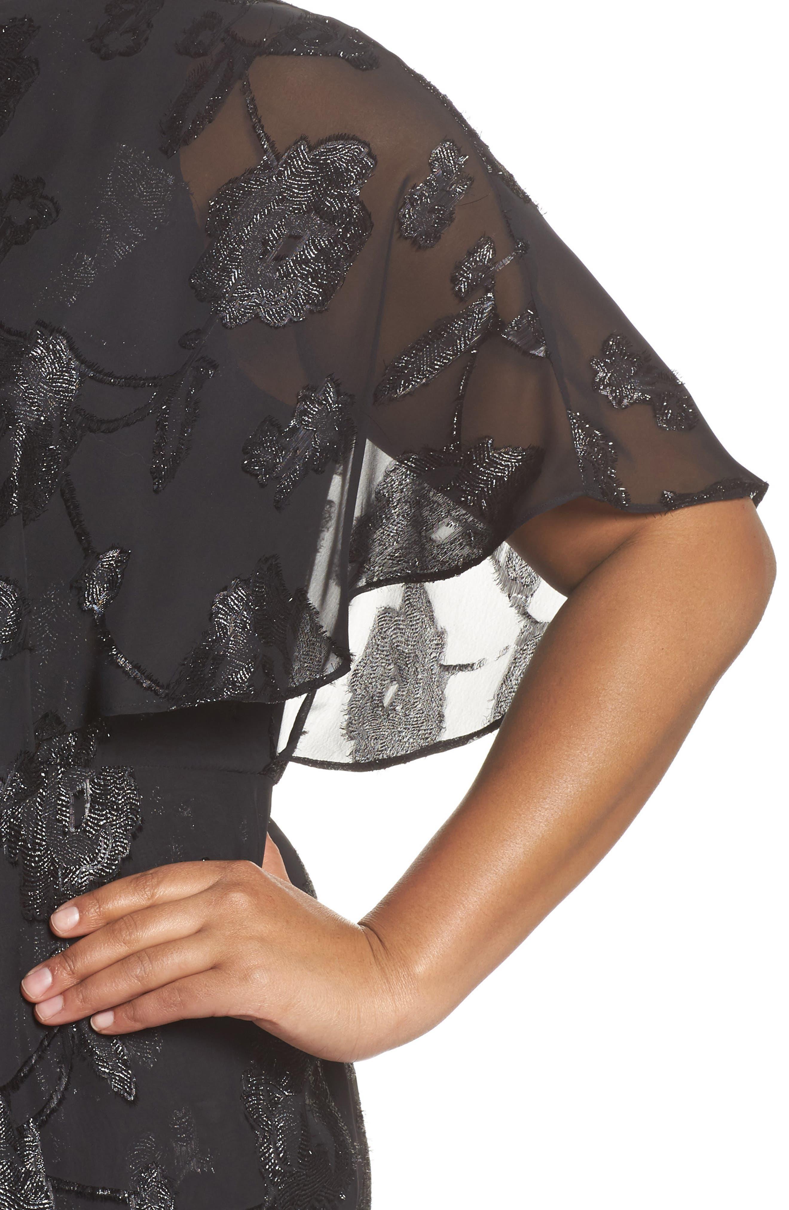 Floral Chiffon One-Shoulder Jumpsuit,                             Alternate thumbnail 4, color,                             Black
