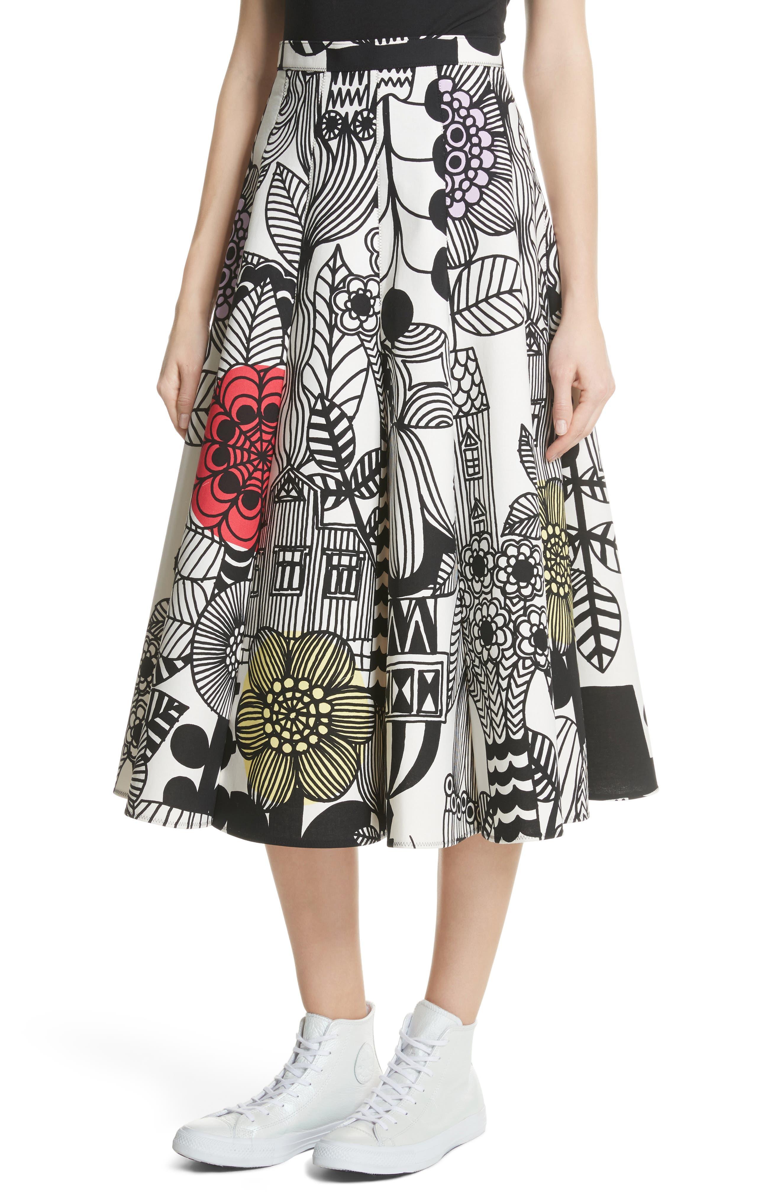 x Marimekko Vegetable Print Cotton Skirt,                             Alternate thumbnail 4, color,                             Wht/ Blk/ Ylw