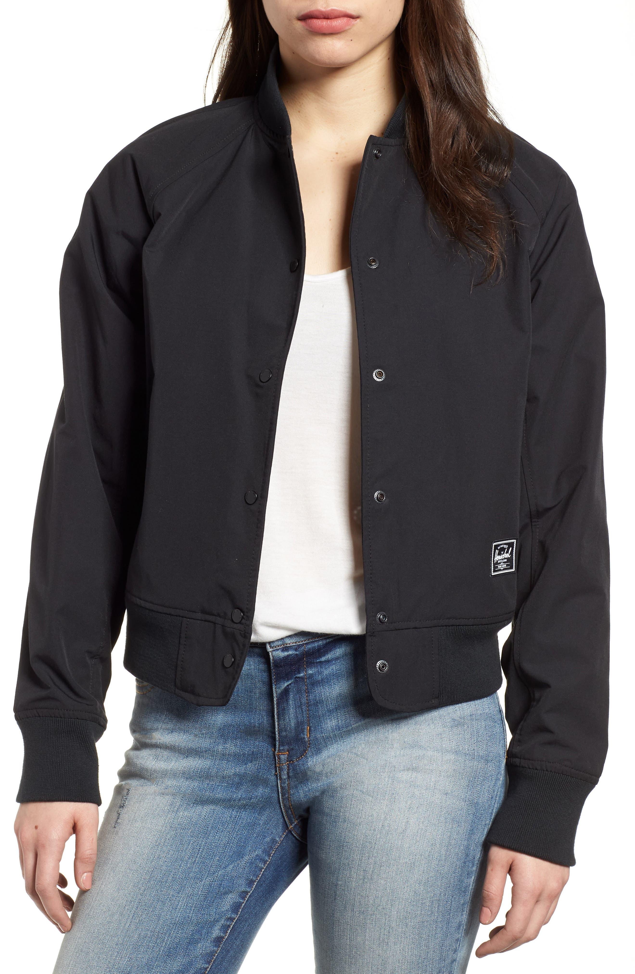 Varsity Jacket,                             Main thumbnail 1, color,                             Black/ Shadow