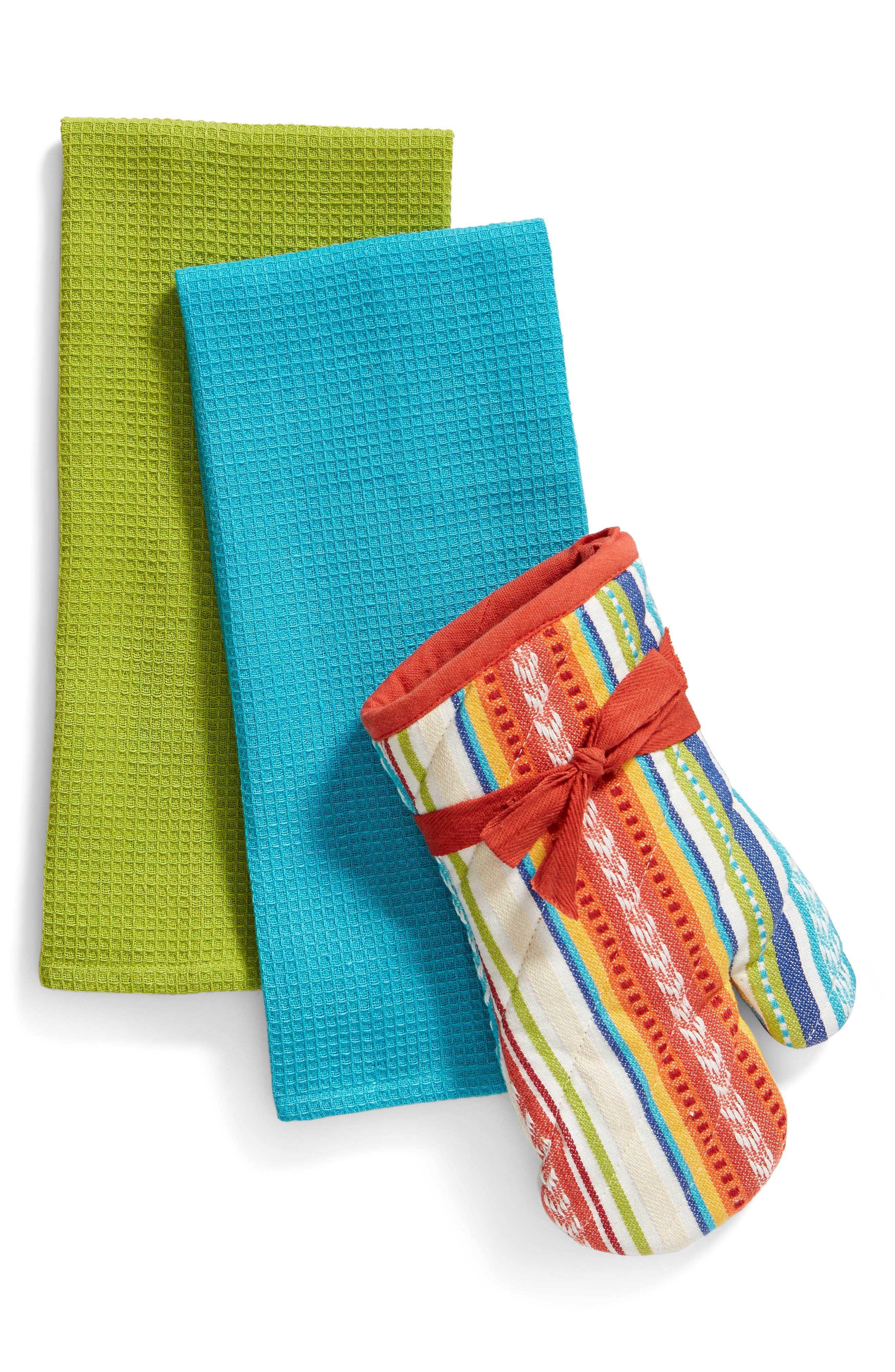 Baja Cantina Oven Mitt & Towel Set,                             Main thumbnail 1, color,                             White