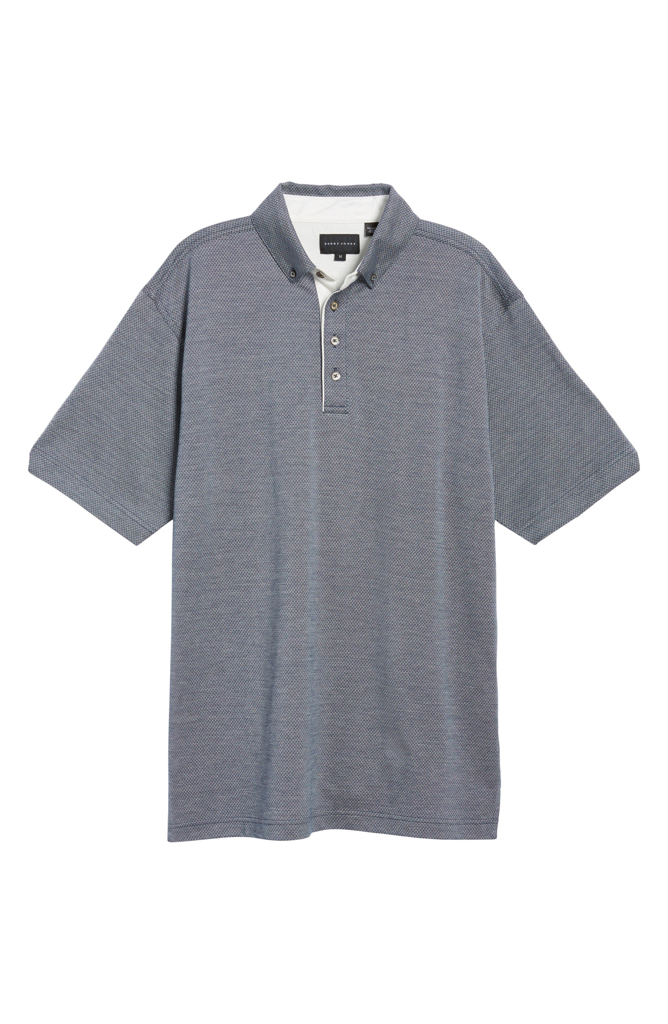 Mercerized Cotton Jacquard Polo,                             Alternate thumbnail 6, color,                             Navy
