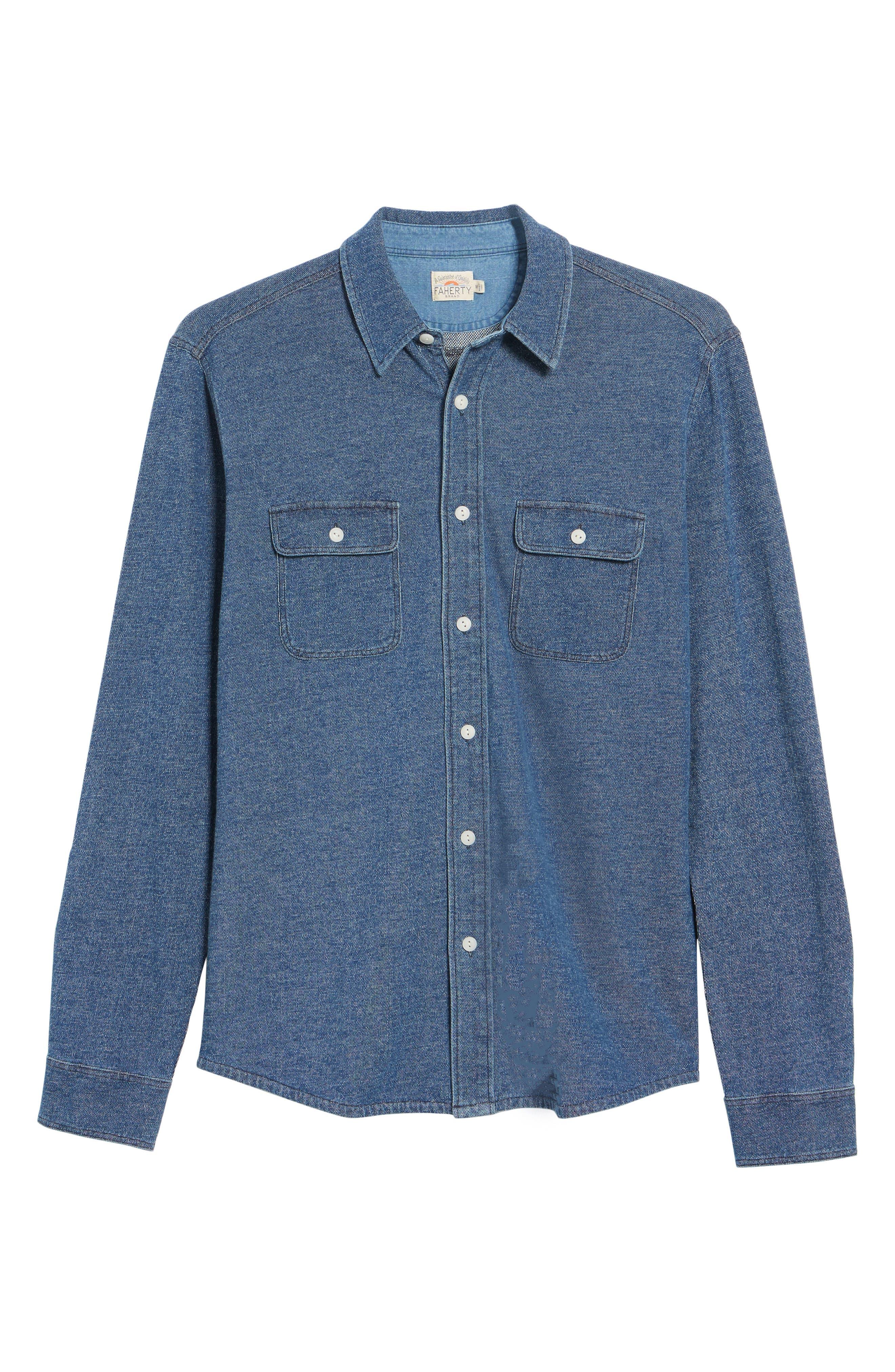 Belmar Chambray Knit Sport Shirt,                             Alternate thumbnail 6, color,                             Medium Wash Indigo