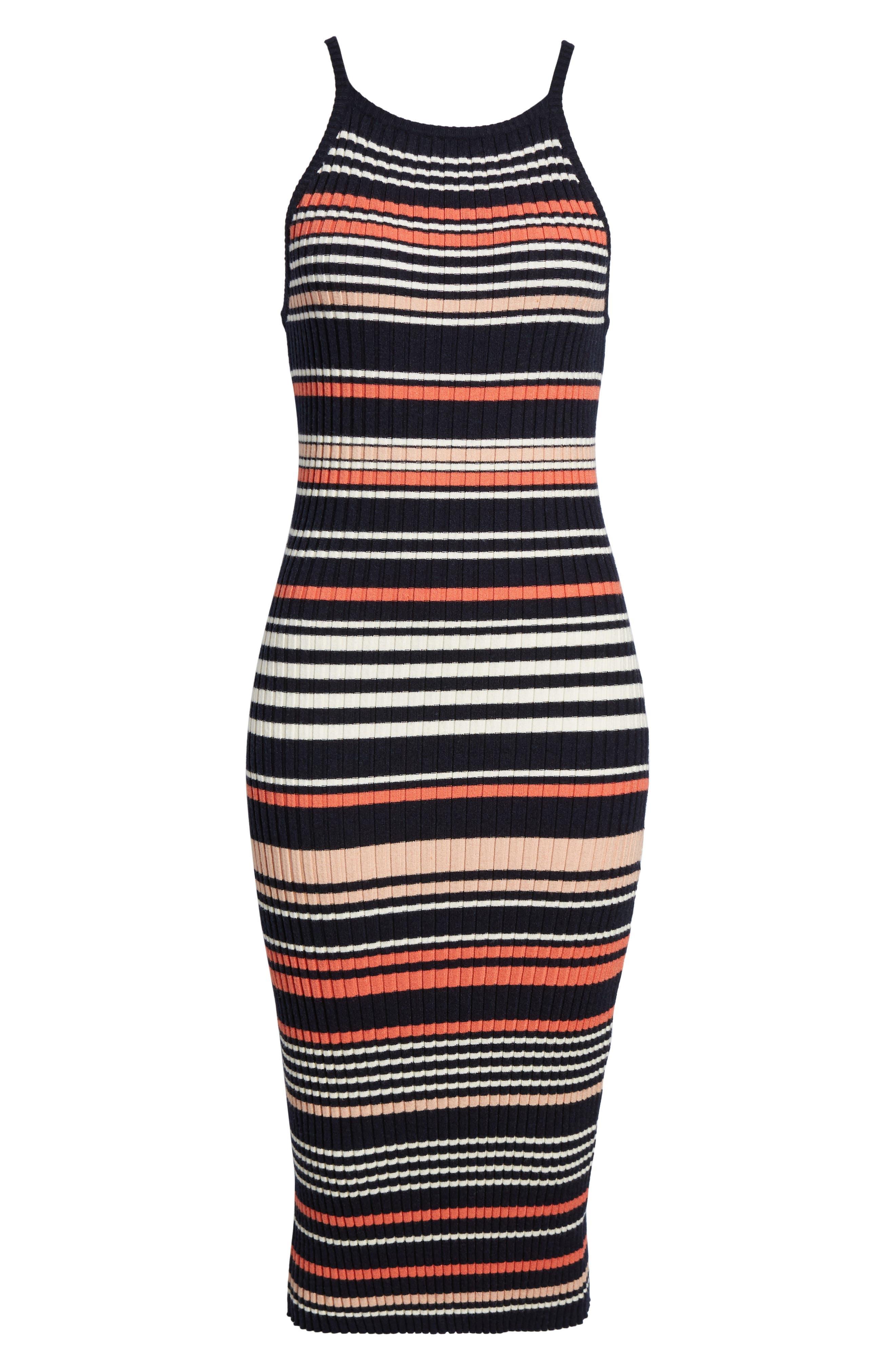 Dani Sweater Knit Midi Dress,                             Alternate thumbnail 6, color,                             Ink