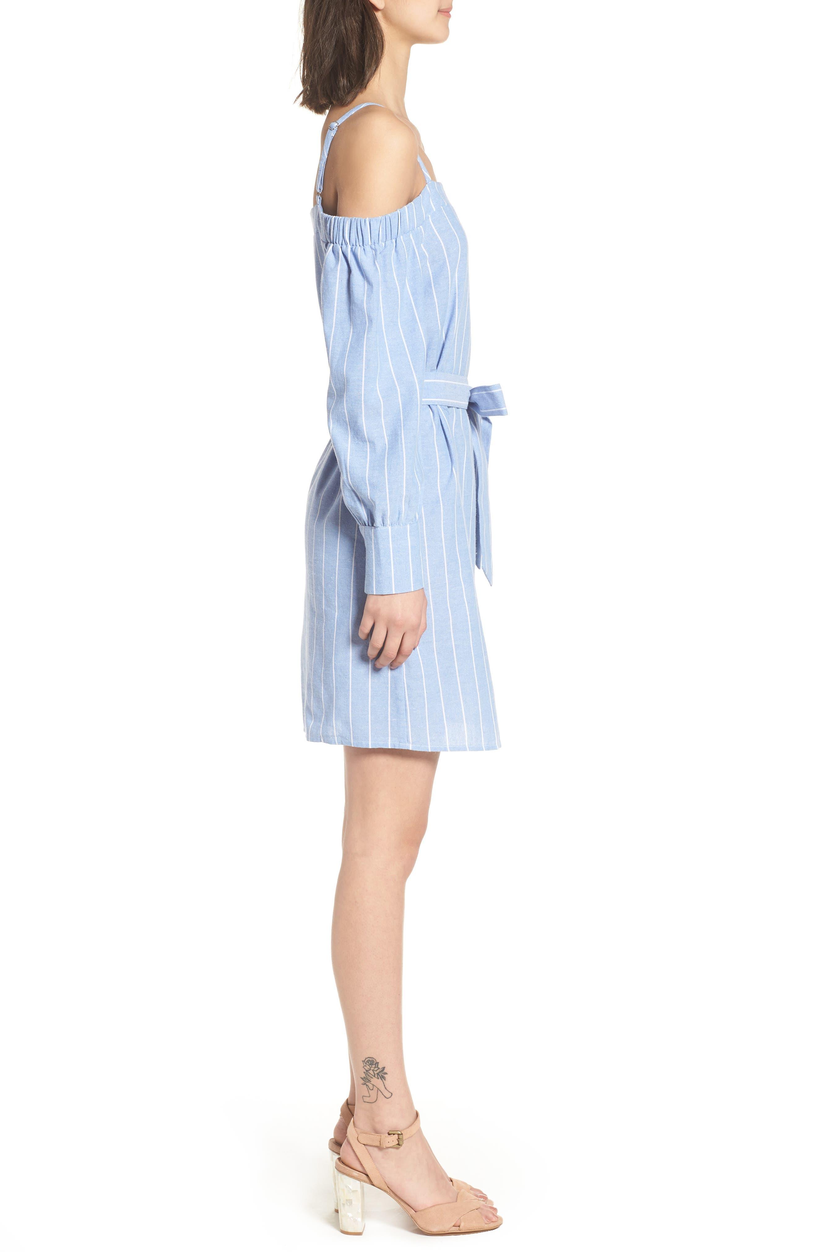 Bishop + Young Chrissy Cold Shoulder Dress,                             Alternate thumbnail 3, color,                             Blue White Stripe