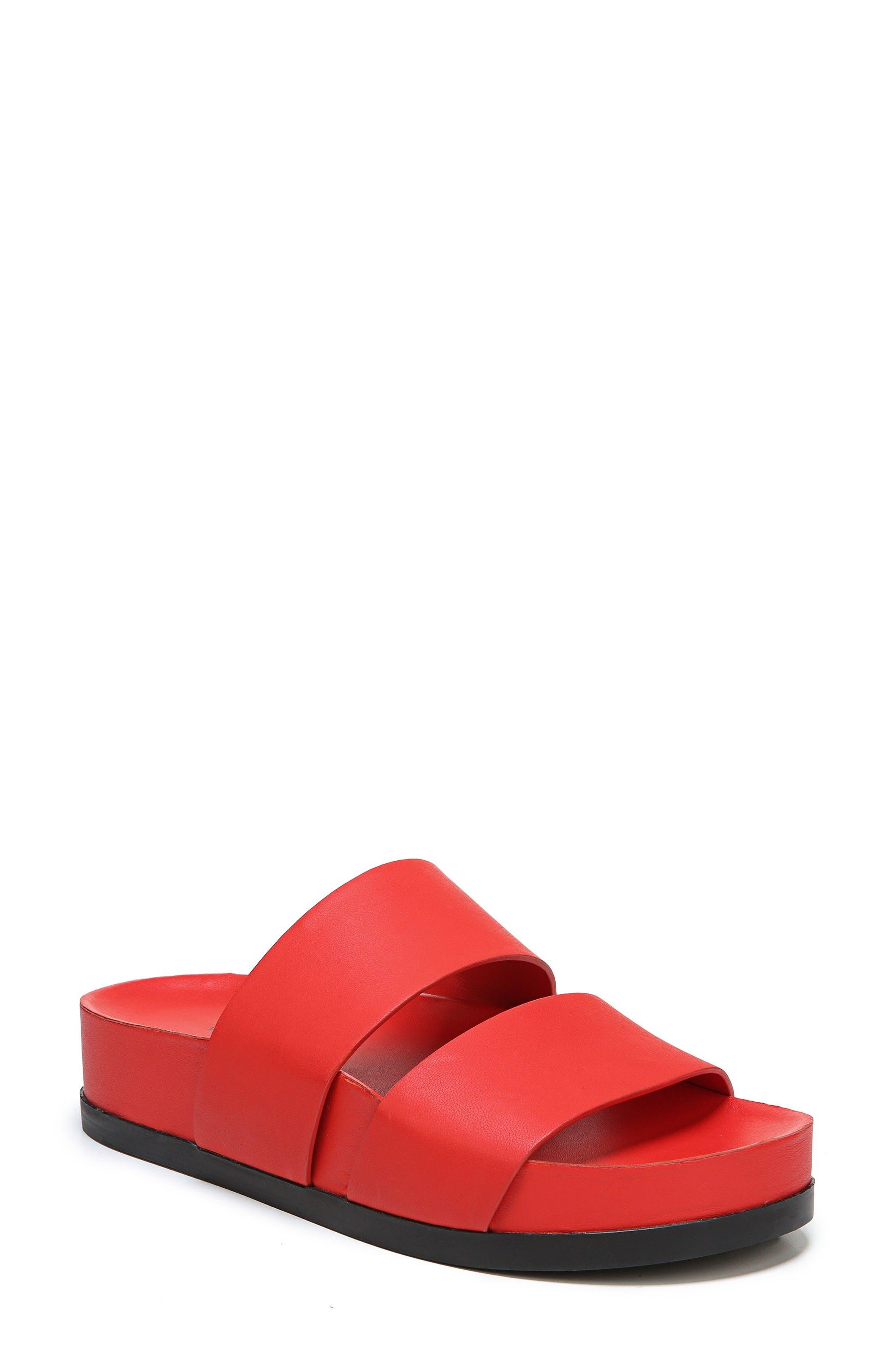 Milton Slide Sandal,                             Main thumbnail 1, color,                             Poppy Red Leather
