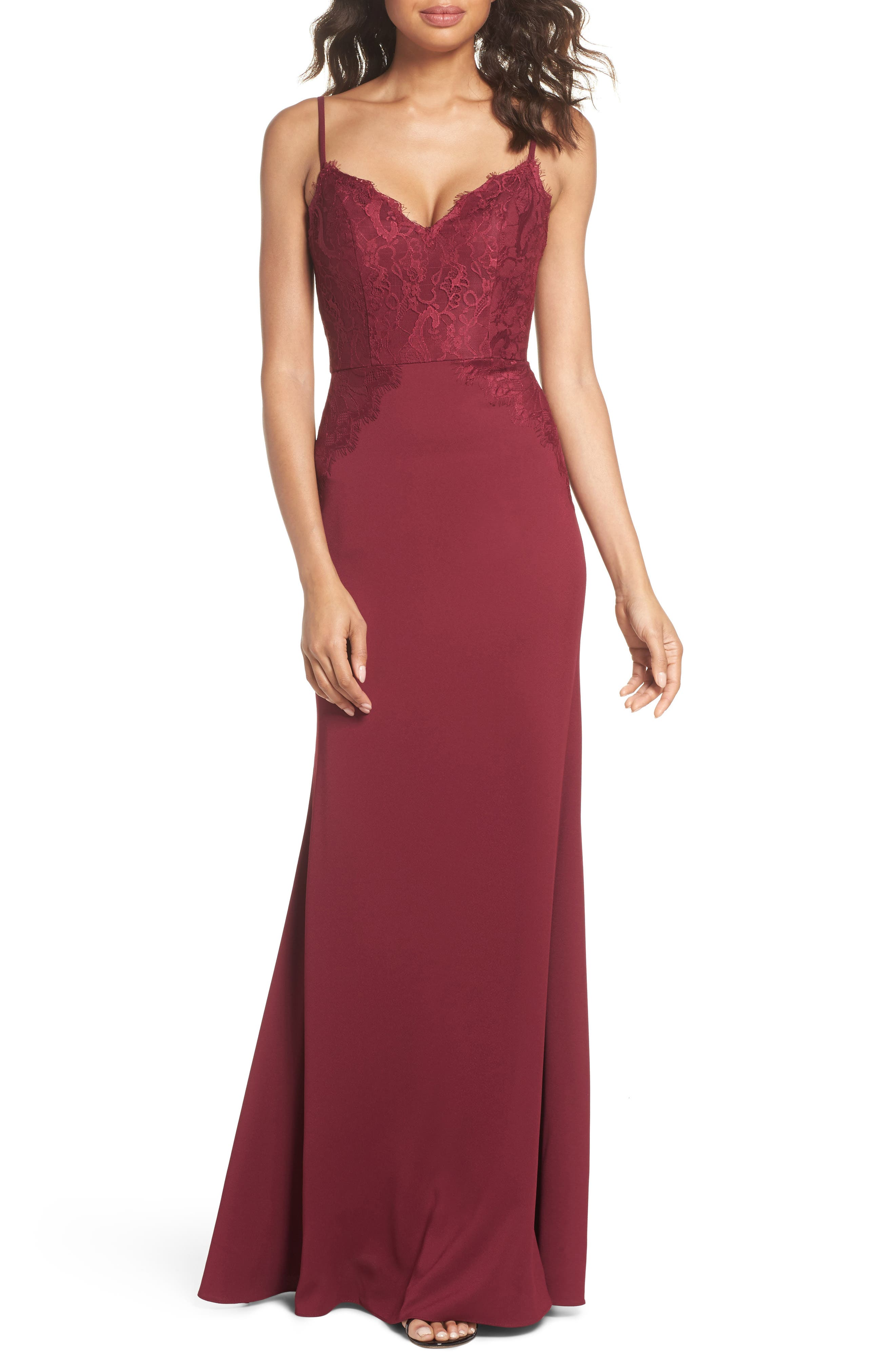 Hayley Paige Occasions Lace & Crepe Trumpet Gown