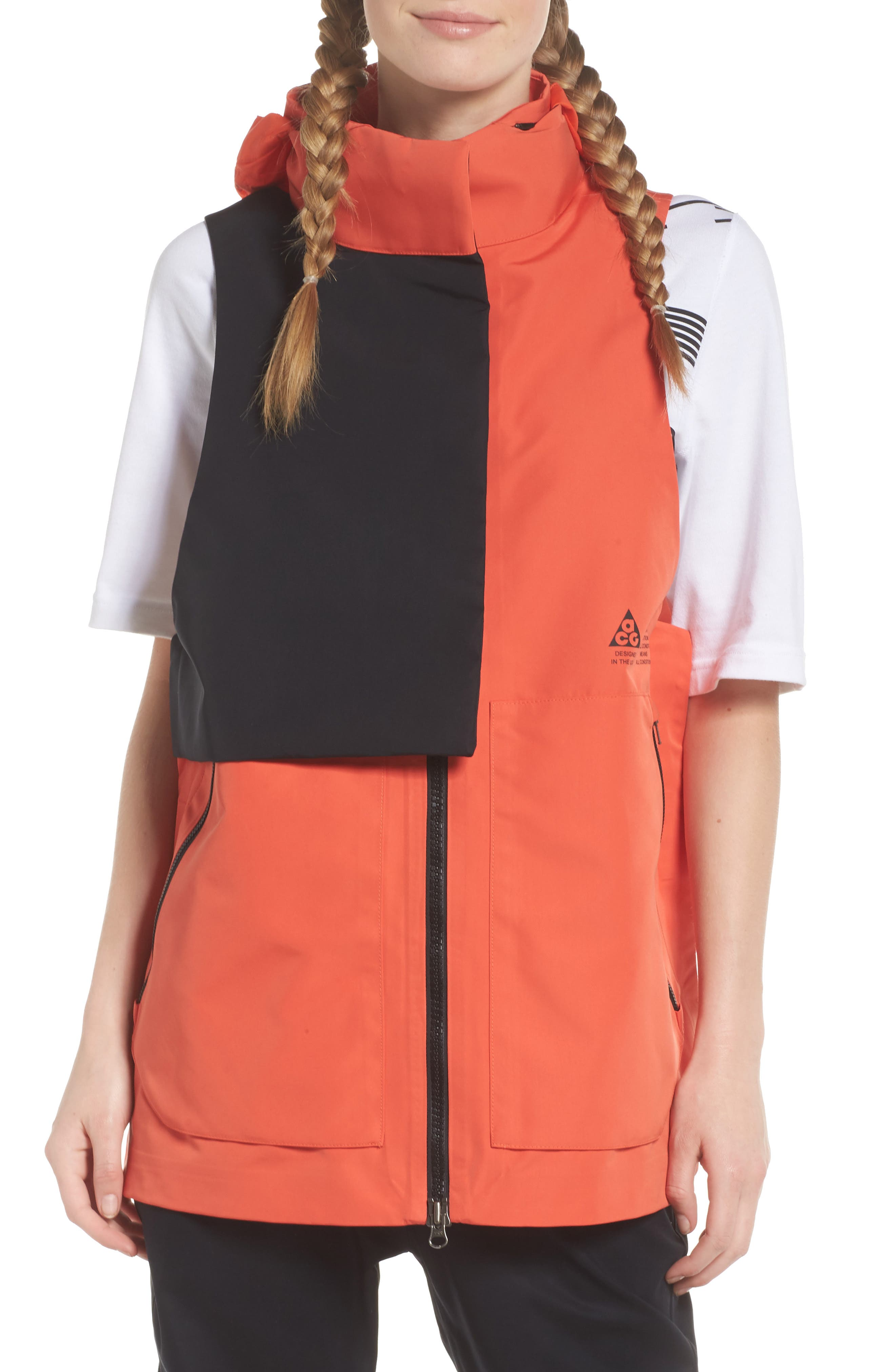NikeLab ACG Water Repellent Women's Hooded Vest,                             Alternate thumbnail 4, color,                             Team Orange/ Team Orange
