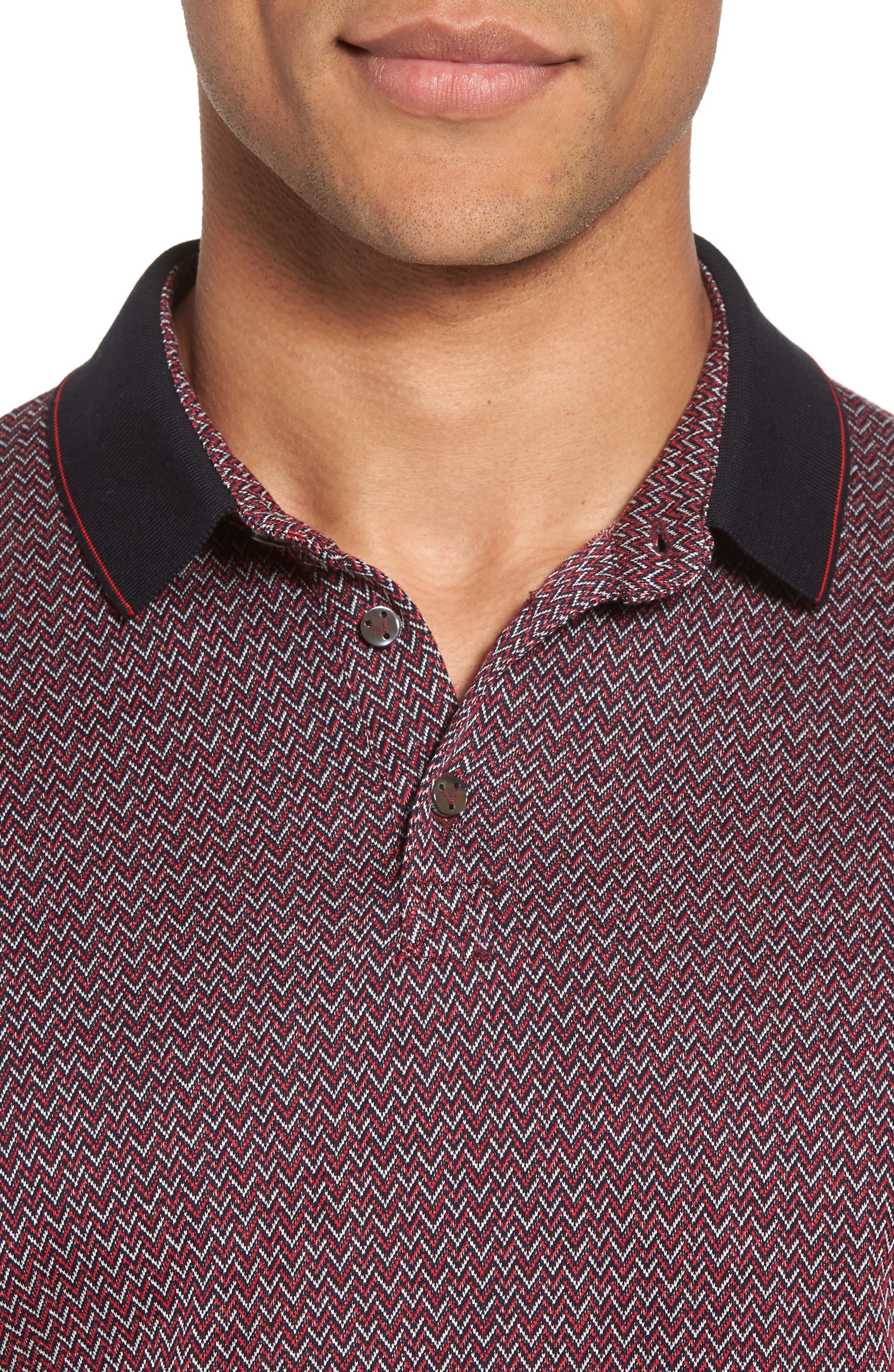 Jacquard Polo,                             Alternate thumbnail 4, color,                             Squid Ink / Canvas / Red Coral