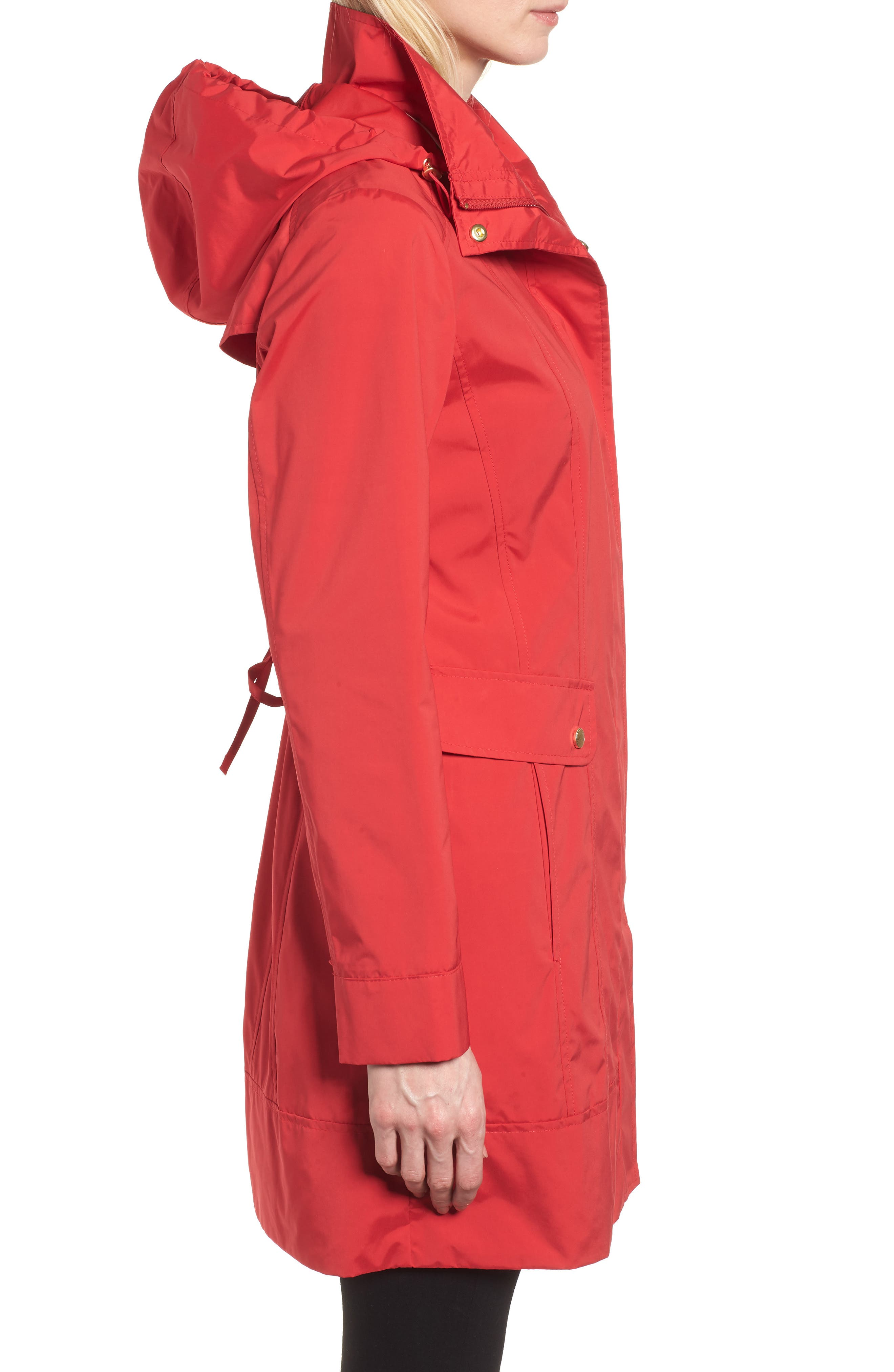 Back Bow Packable Hooded Raincoat,                             Alternate thumbnail 3, color,                             Red