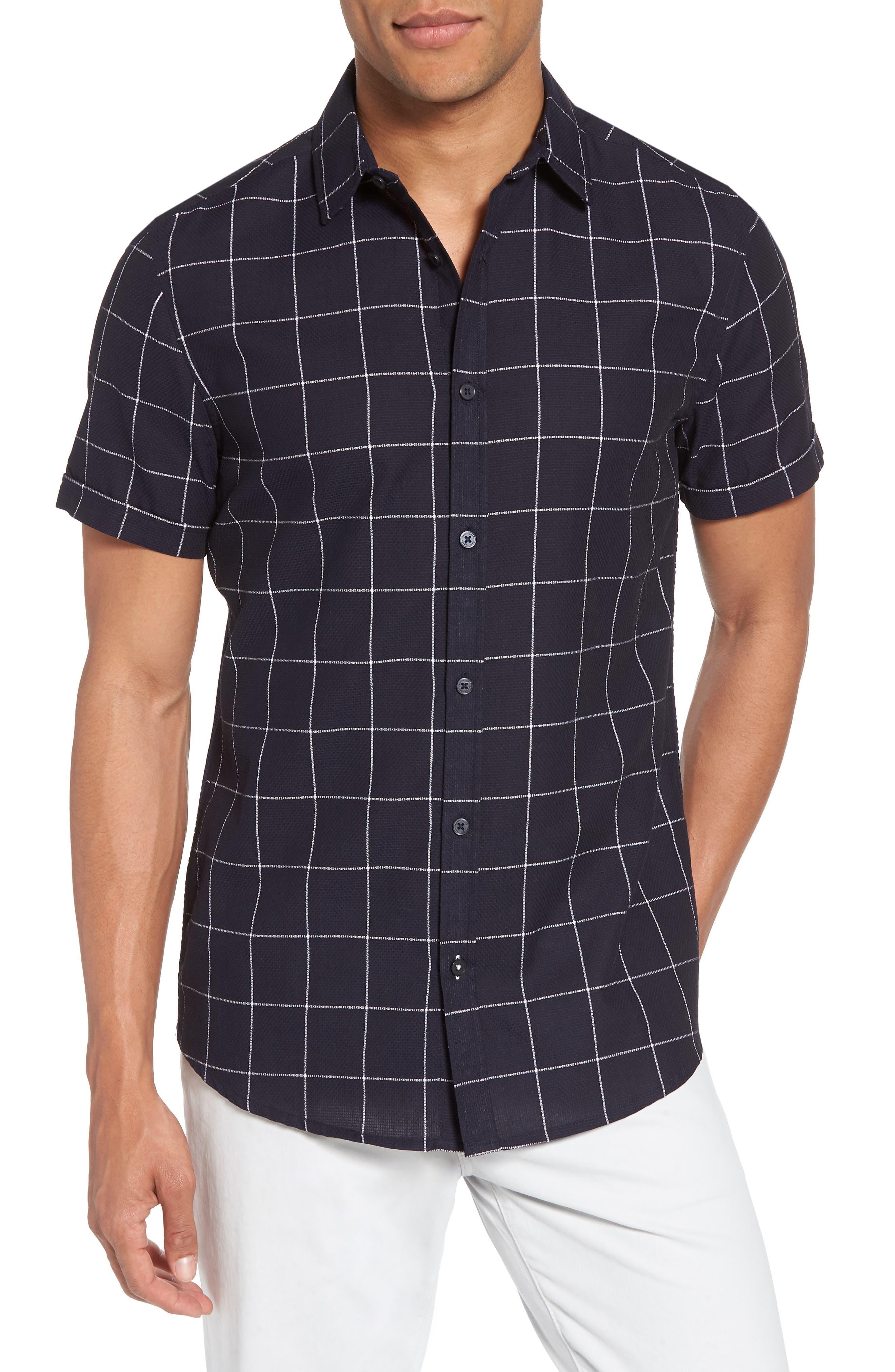 Vince Camuto Window Pane Print Woven Shirt