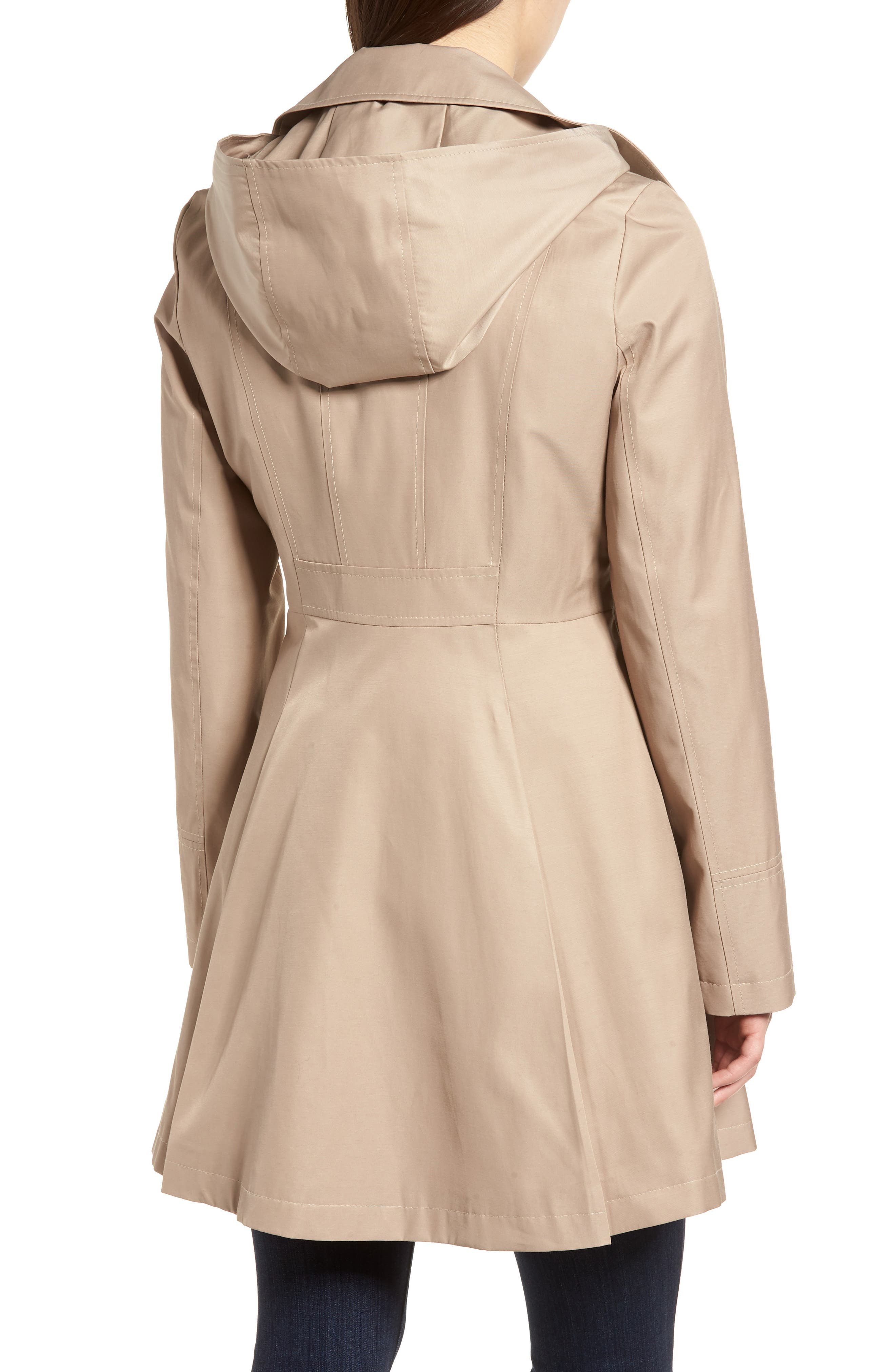Double Breasted Fit & Flare Trench Coat,                             Alternate thumbnail 2, color,                             Sand