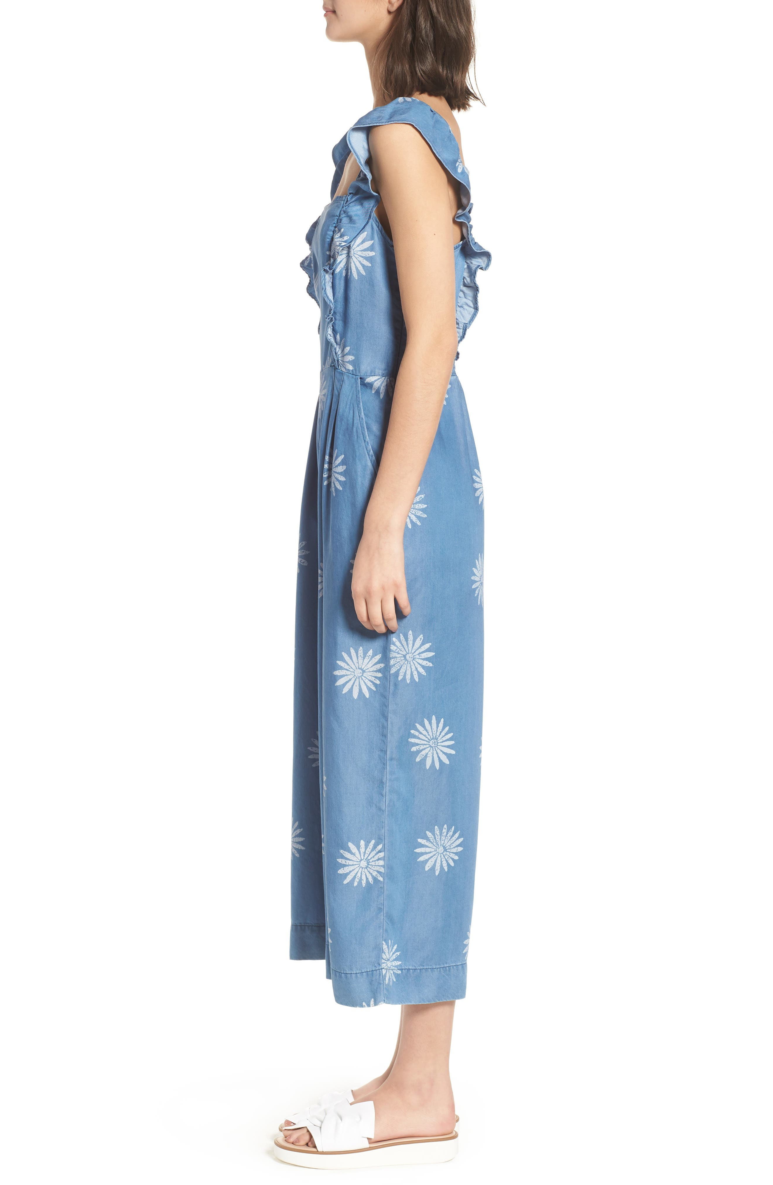 x Margherita Dolce Daisy Jumpsuit,                             Alternate thumbnail 4, color,                             Med Wash