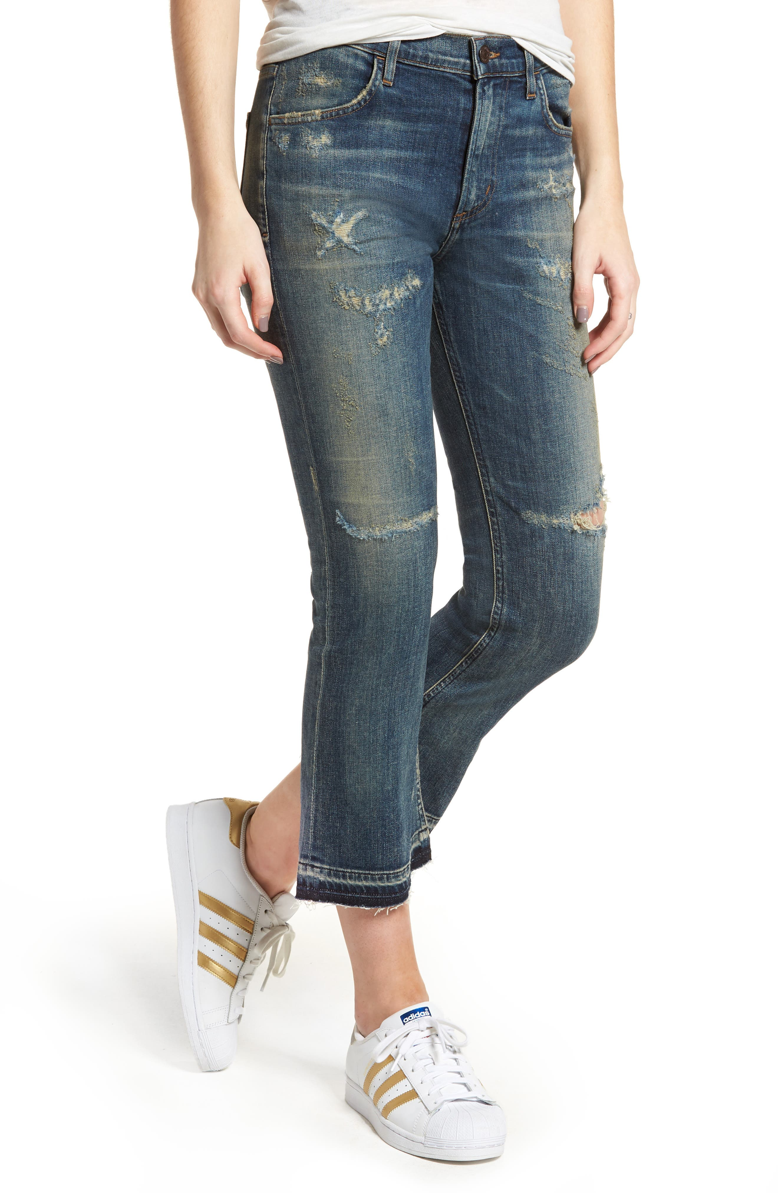 Drew Crop Flare Jeans,                             Main thumbnail 1, color,                             Rip It Up