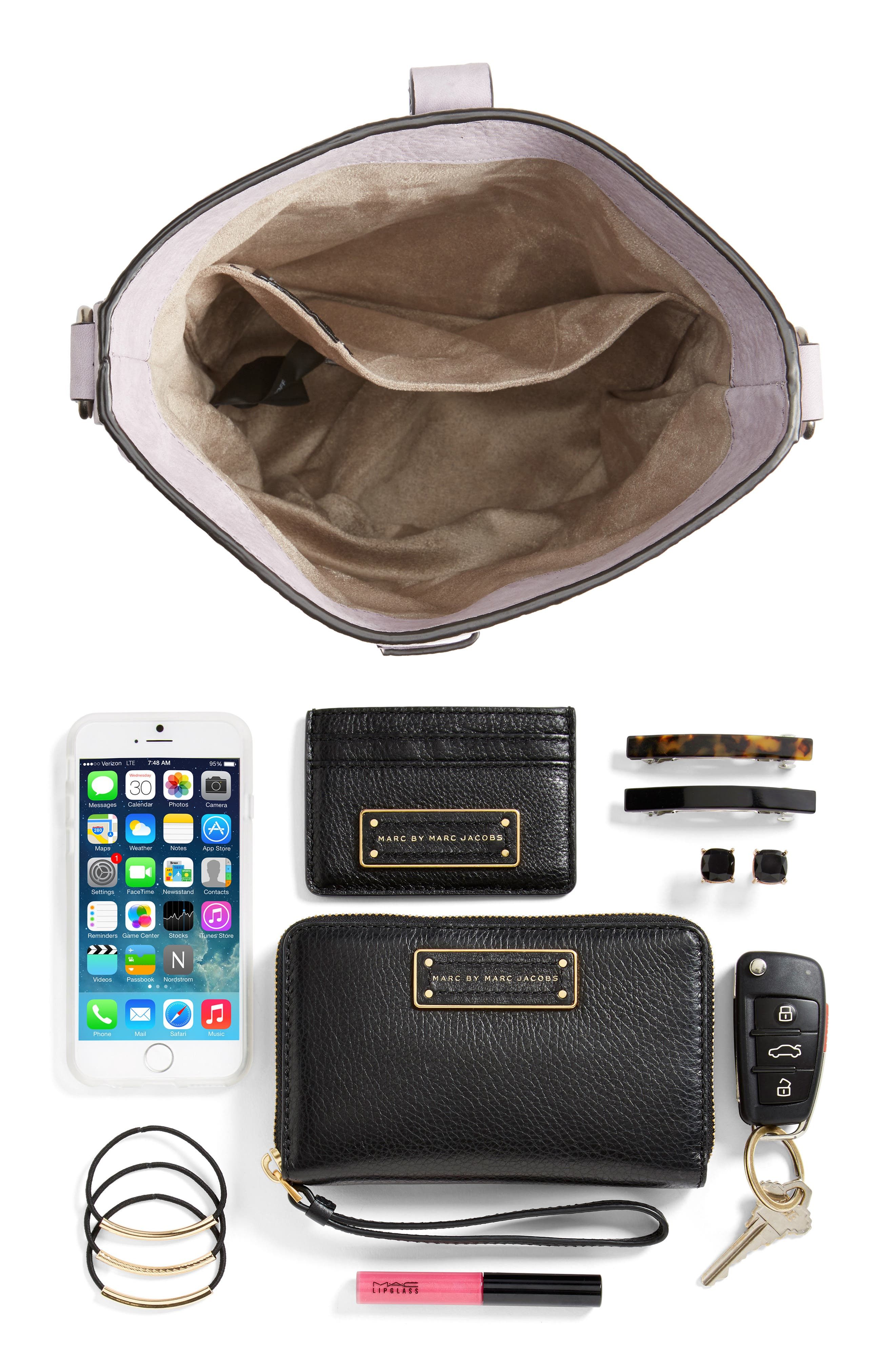Slim Leather Bucket Bag,                             Alternate thumbnail 8, color,