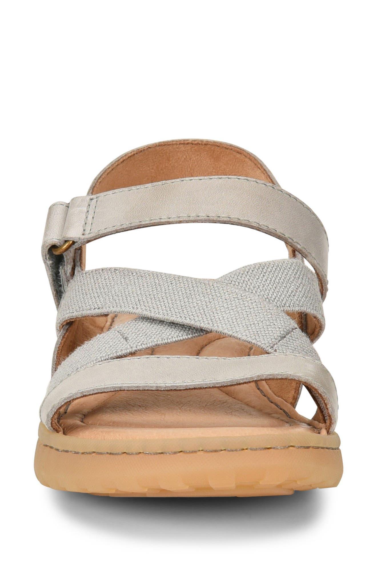 Manta Sandal,                             Alternate thumbnail 4, color,                             Light Grey Leather