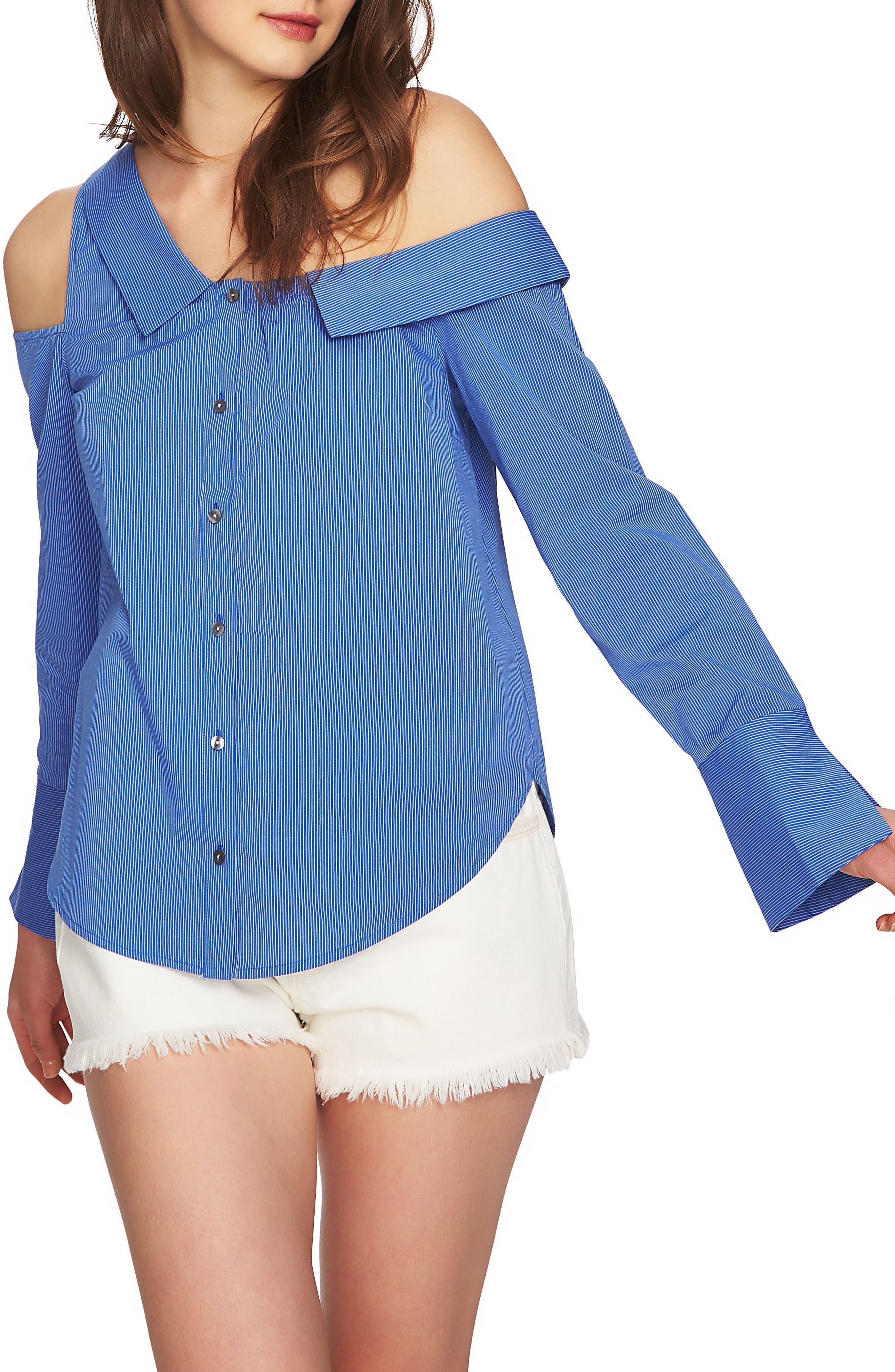 Mixed Stripe One-Shoulder Top,                         Main,                         color, 771-Blue Bonnet