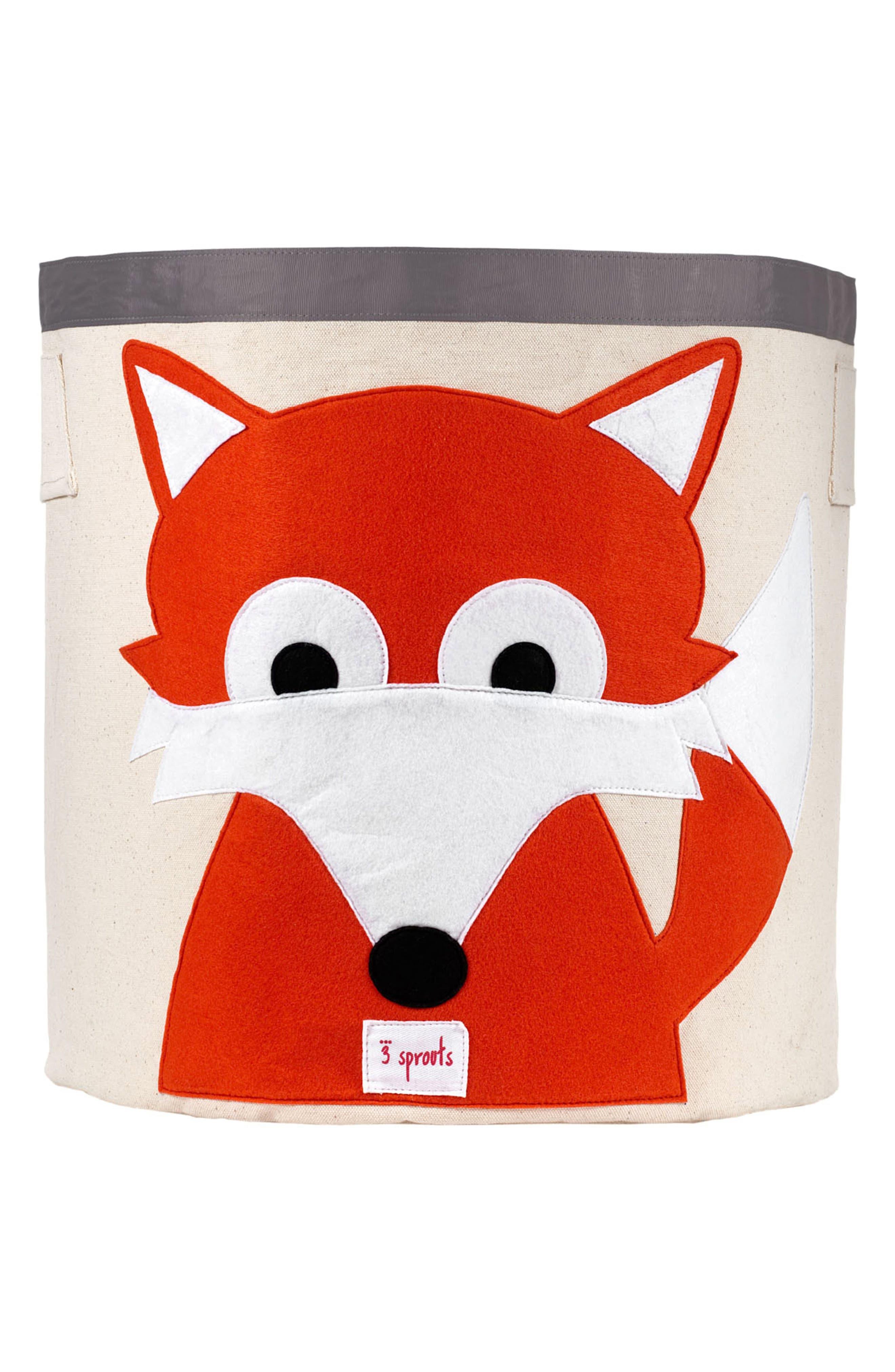 Fox Canvas Storage Bin,                         Main,                         color, Orange