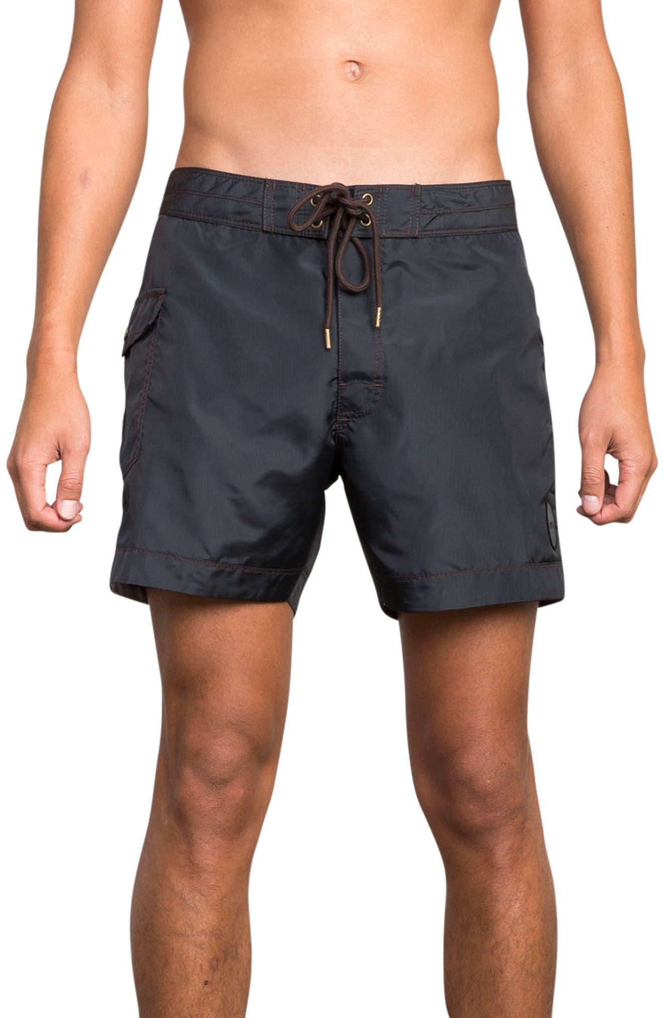 Knost Swim Trunks,                         Main,                         color, Rvca Black