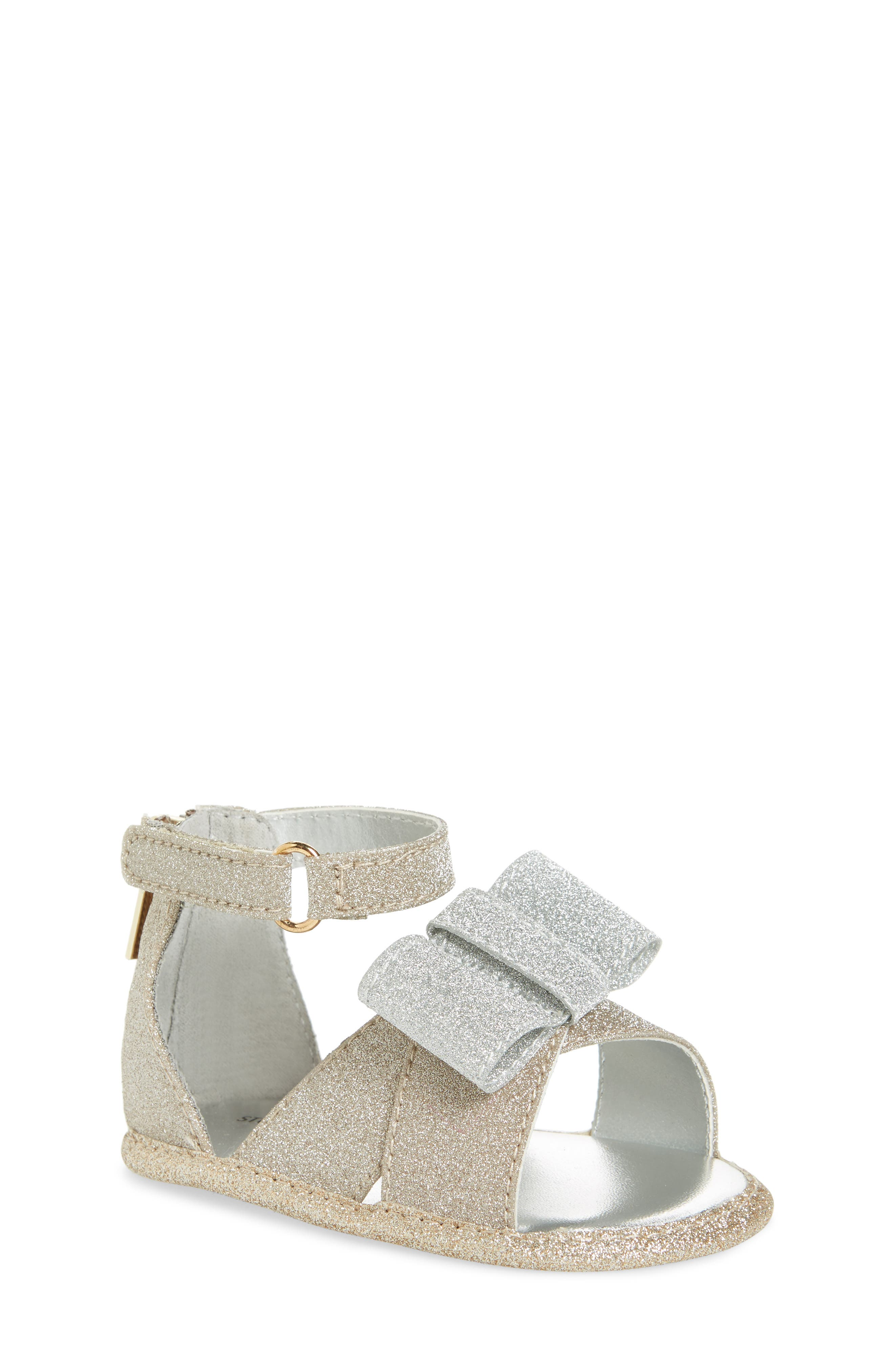 Selina Glitter Crib Shoe Sandal,                         Main,                         color, Gold/ Silver