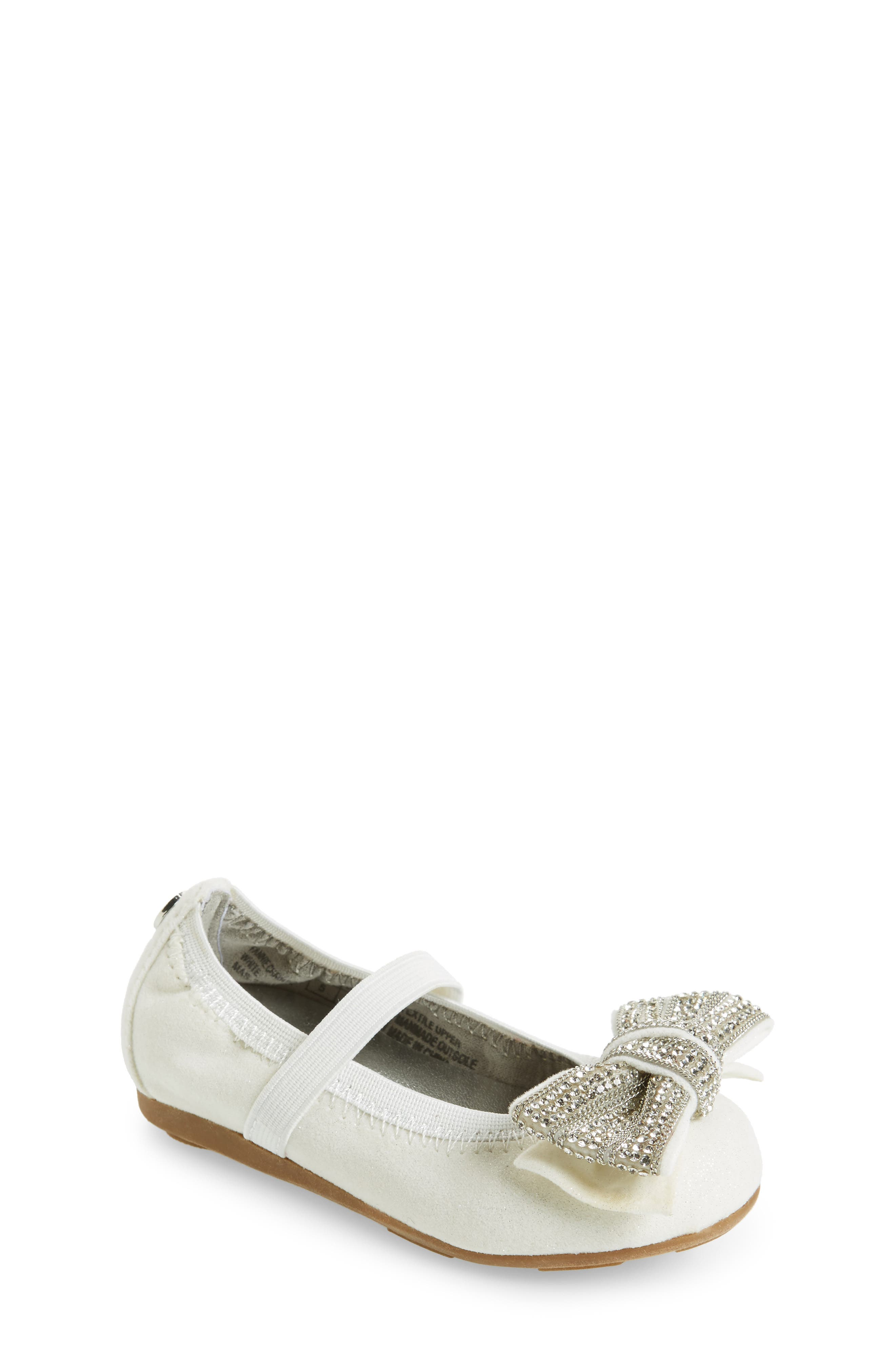 Fannie Embellished Bow Mary Jane Flat,                         Main,                         color, White