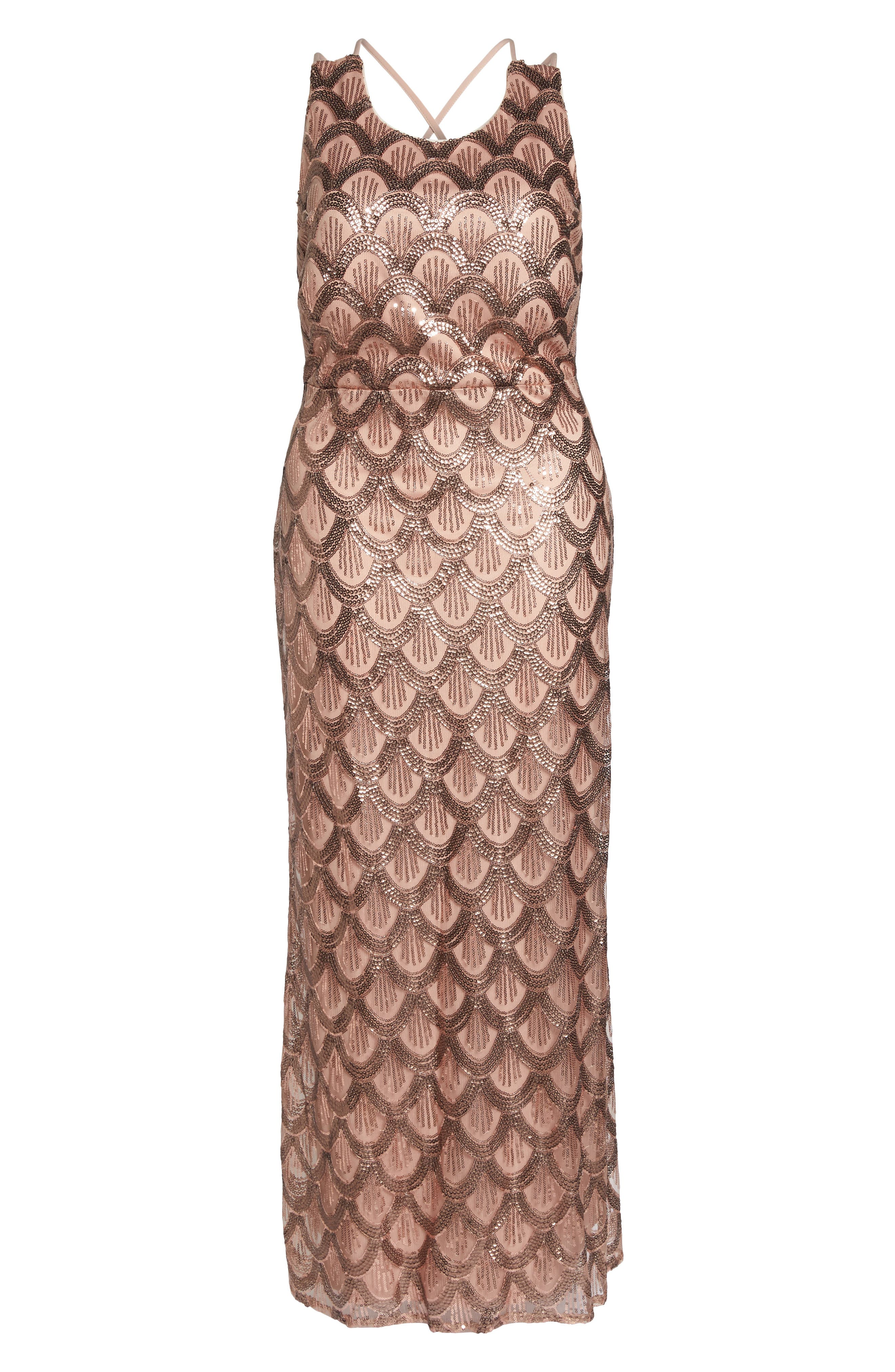 Sequin Cross Back Gown,                             Alternate thumbnail 6, color,                             Rose Gold