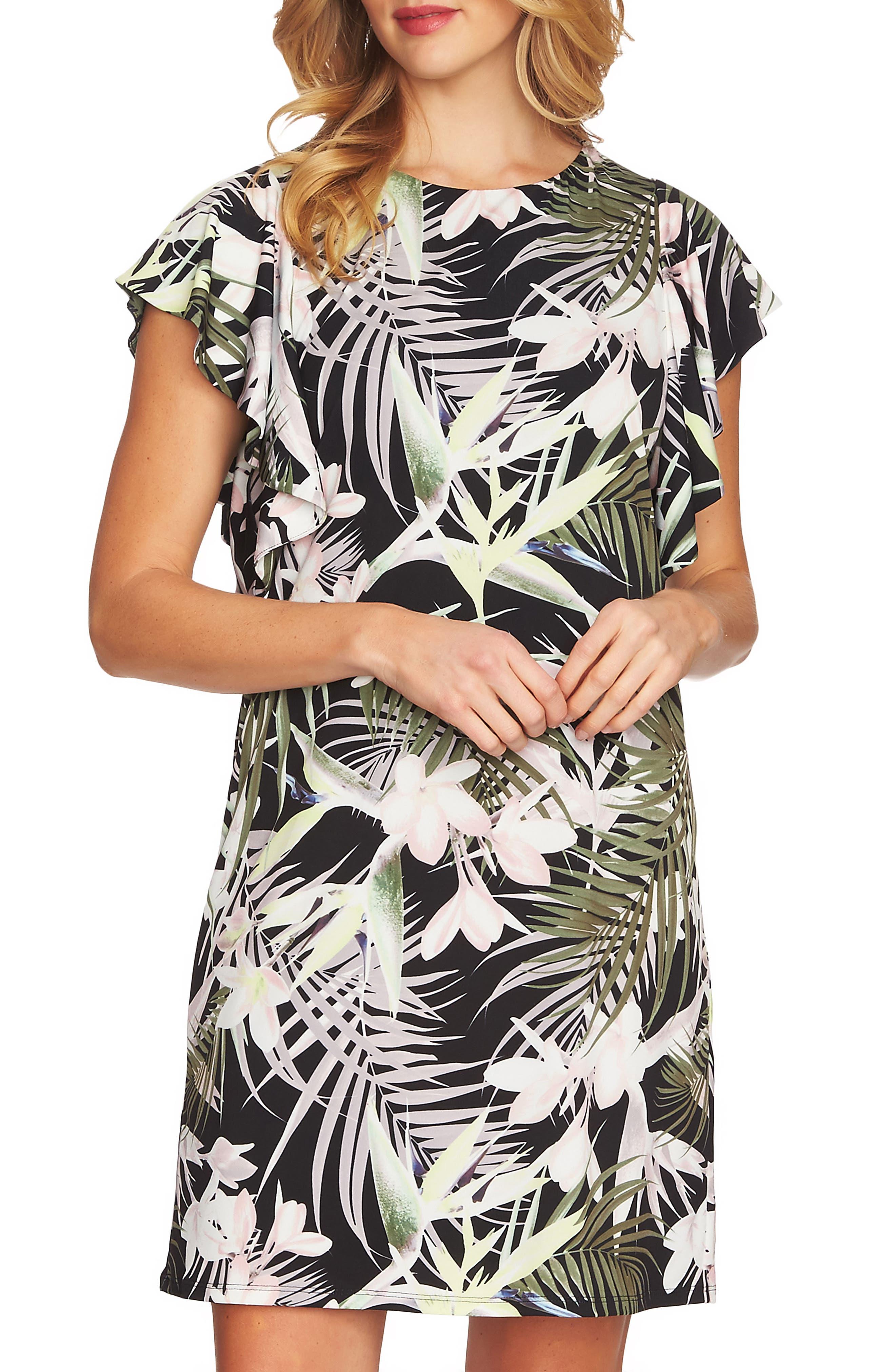 Soft Palms Flutter Sleeve Dress,                             Alternate thumbnail 3, color,                             Rich Black